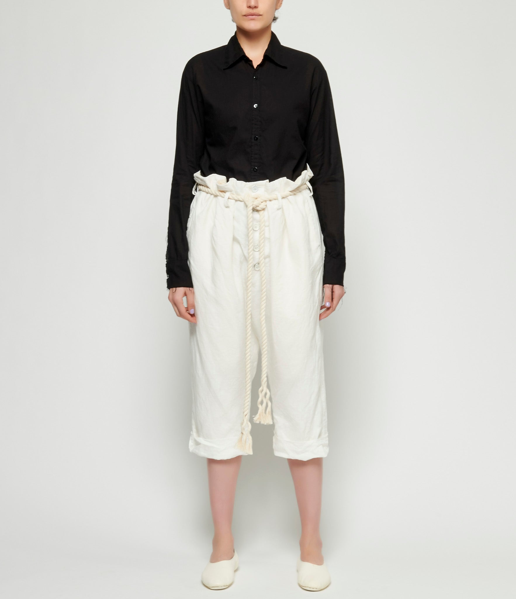 Elena Dawson White Linen Big Button Baggy 3/4 Pants