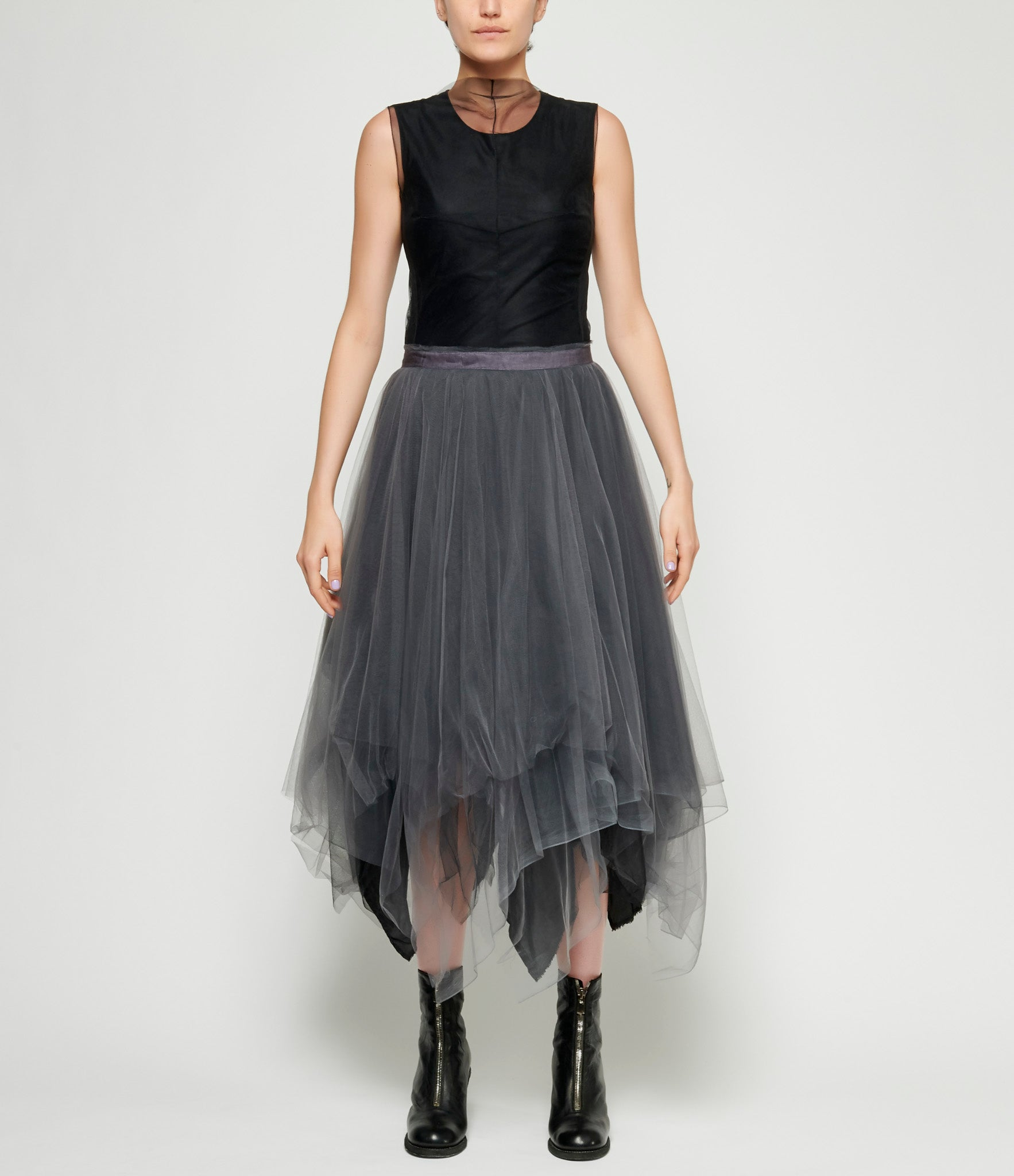 Marc Le Bihan Alternating 6 Layered Grey & Black Tulle Skirt