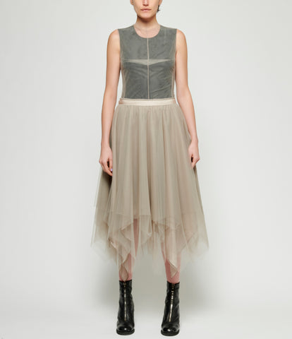 Marc Le Bihan Alternating 6 Layered Taupe Tulle Skirt