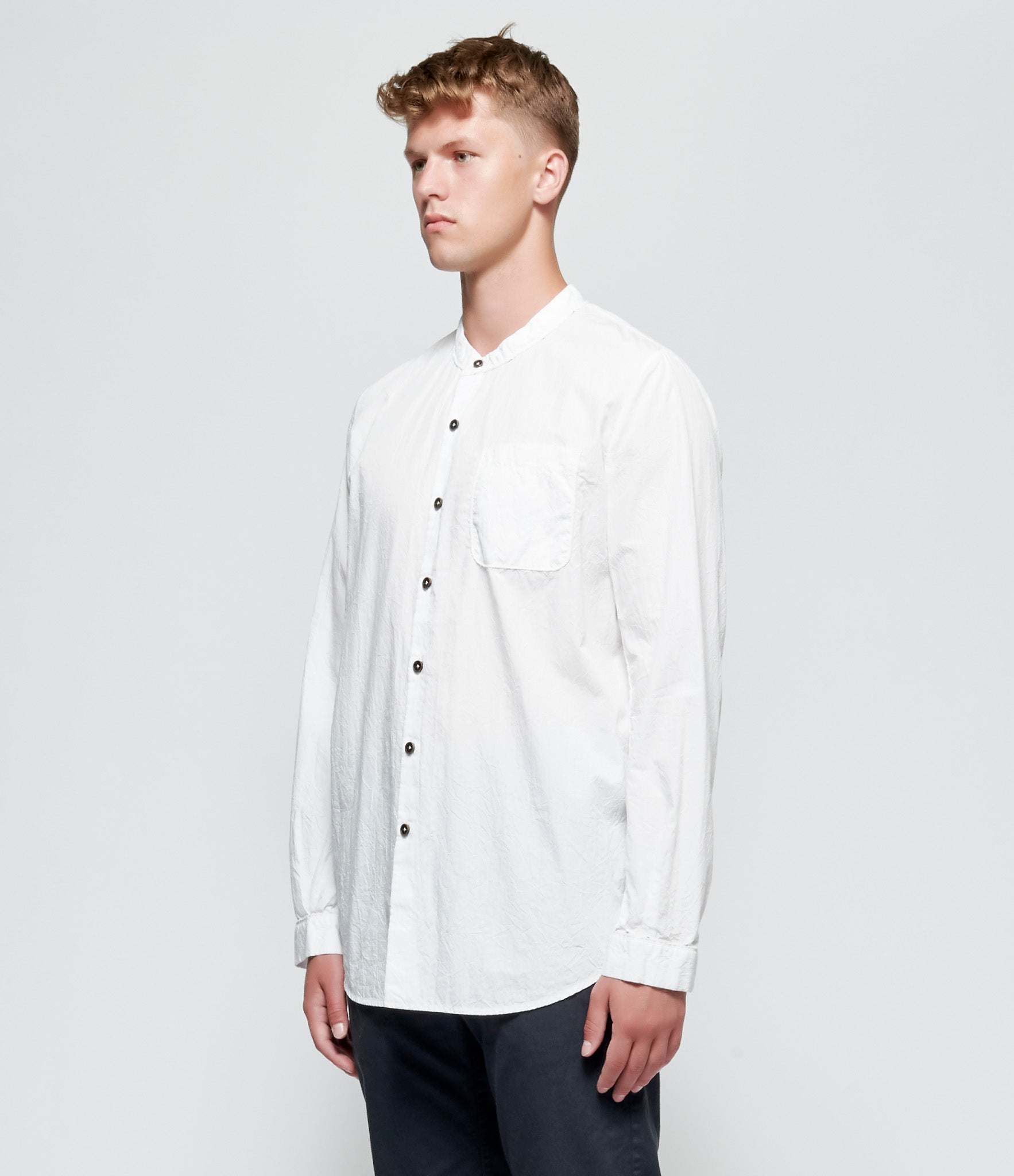 'T Ensemble Crinkled Poplin Mandarin Shirt
