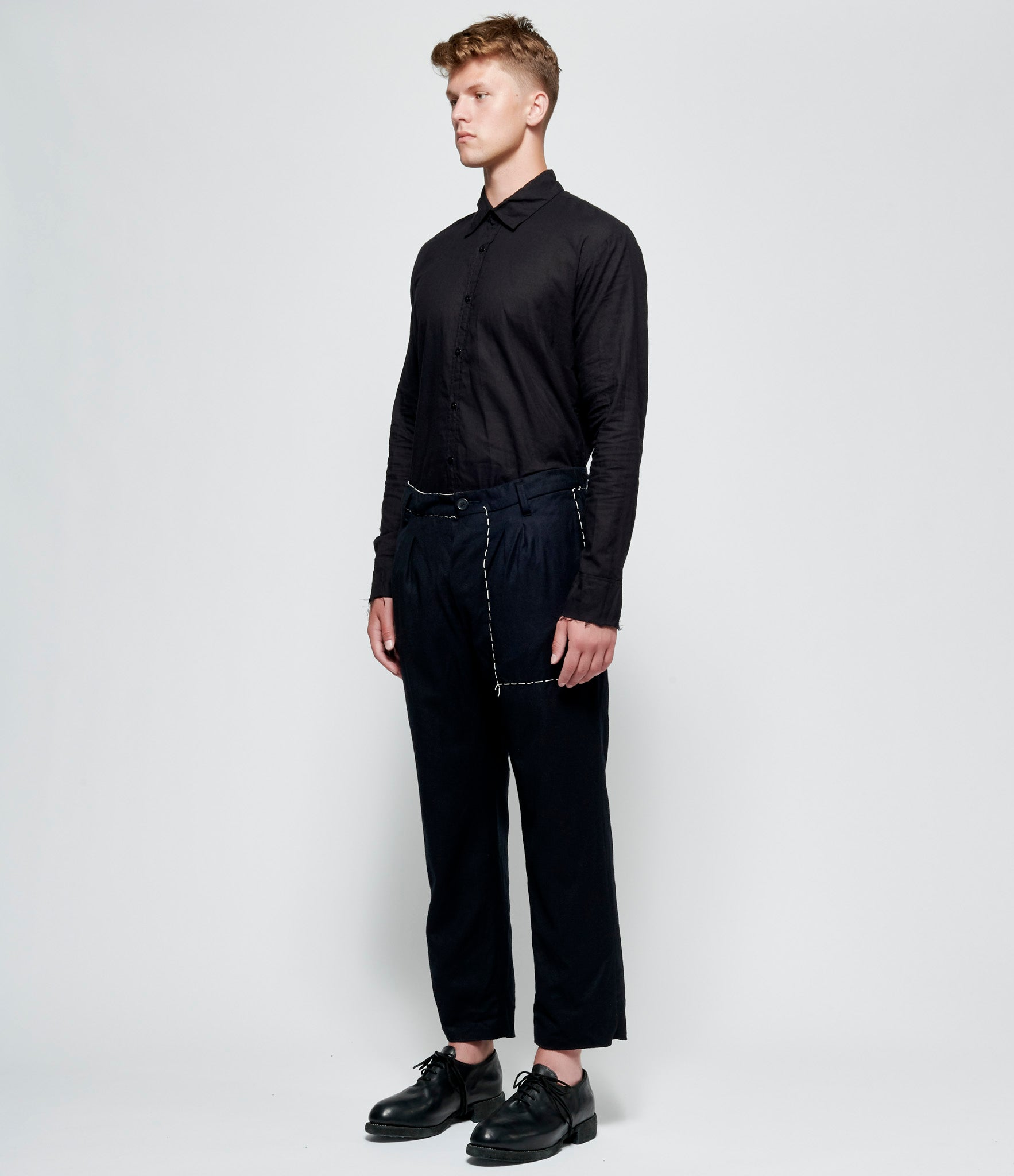 Elena Dawson Black Wool Cashmere Crop Stitch Baggy Trousers