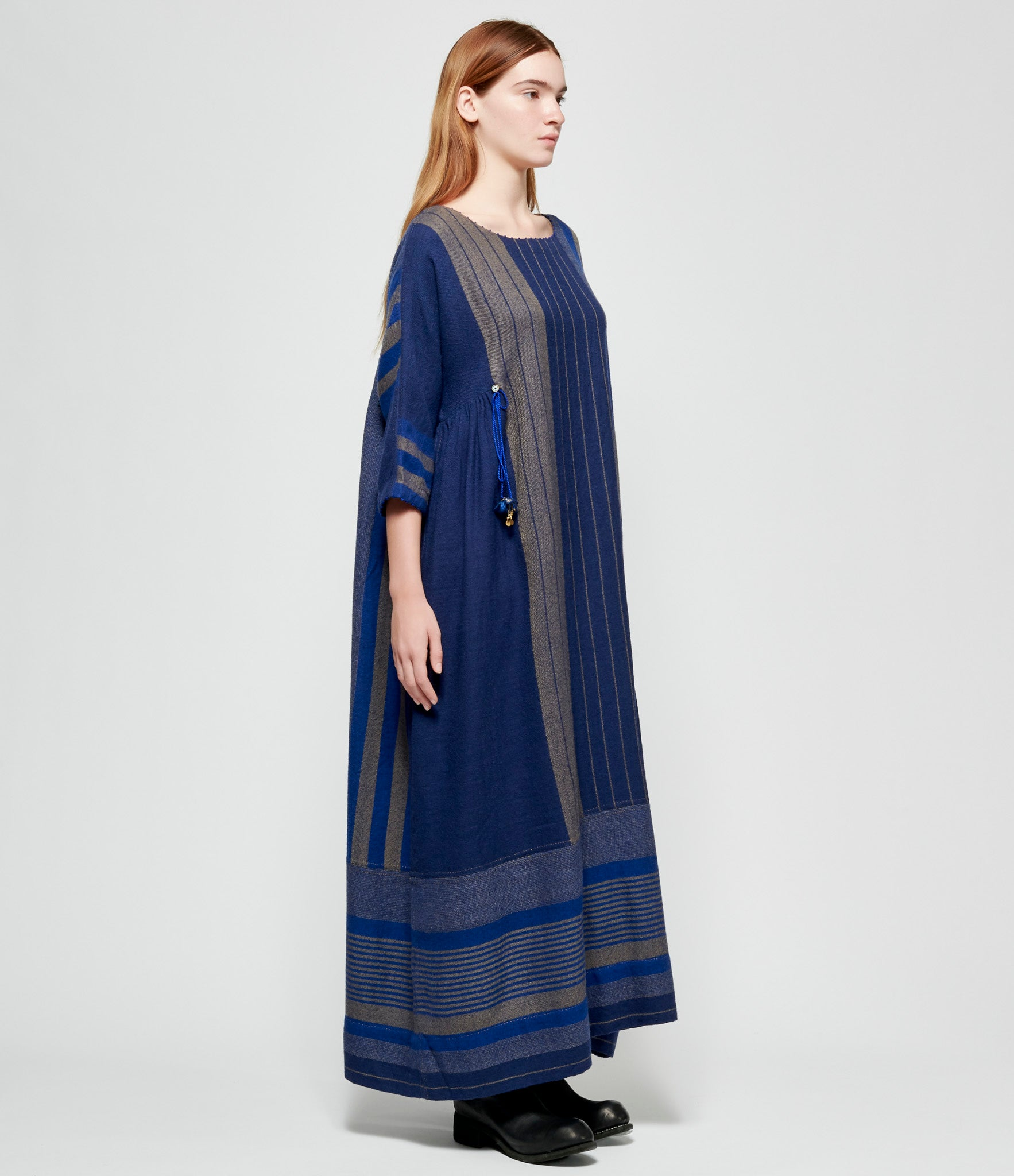 Pero No Embroidery Blue Beige Striped Wool Dress