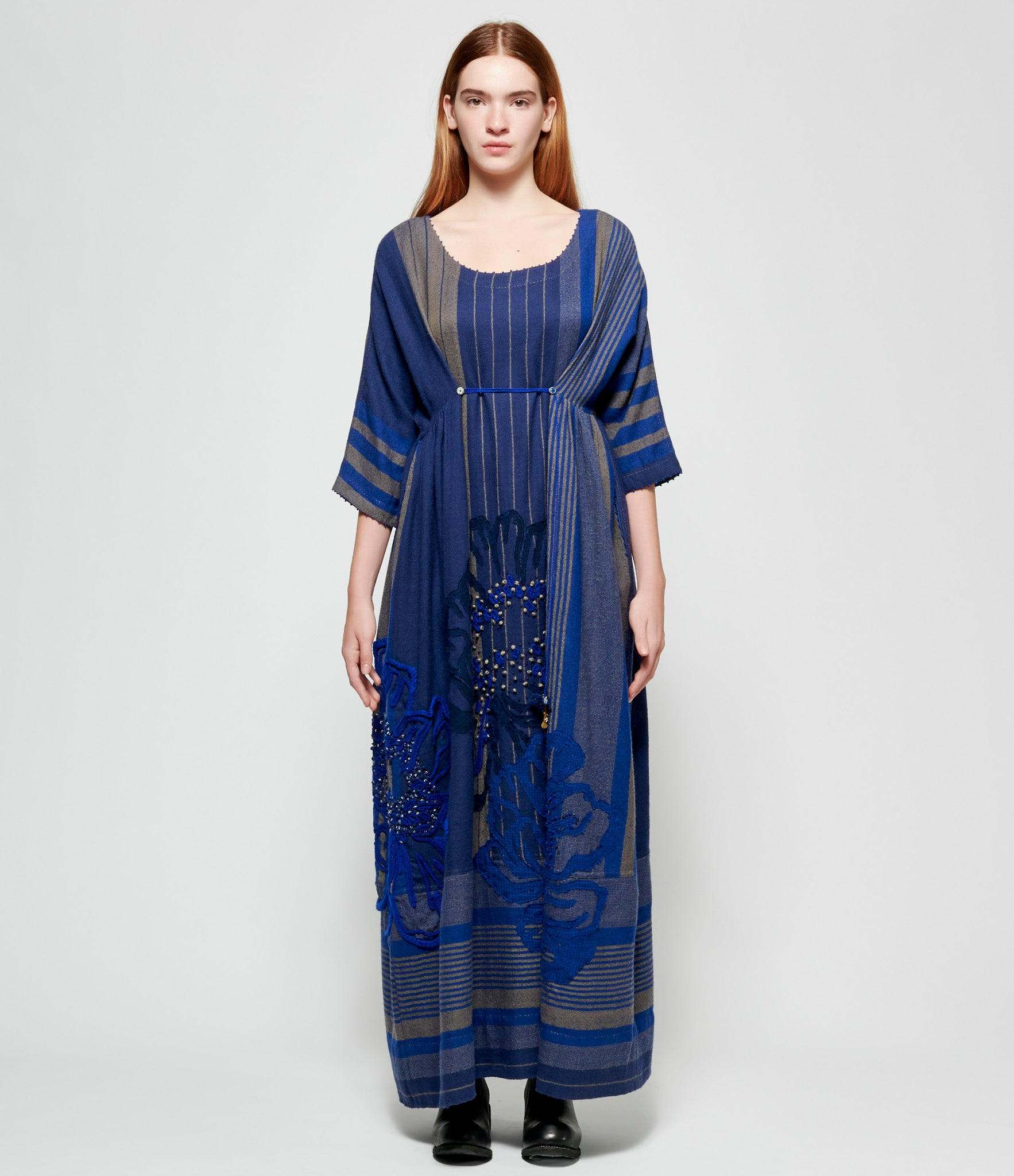 Pero Embroidered Blue Beige Striped Wool Dress
