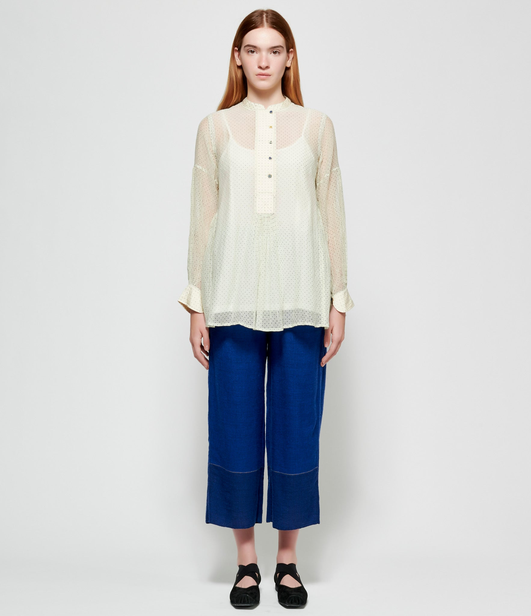 Pero White Blue Polka Dot Sheer Cotton Silk Shirt