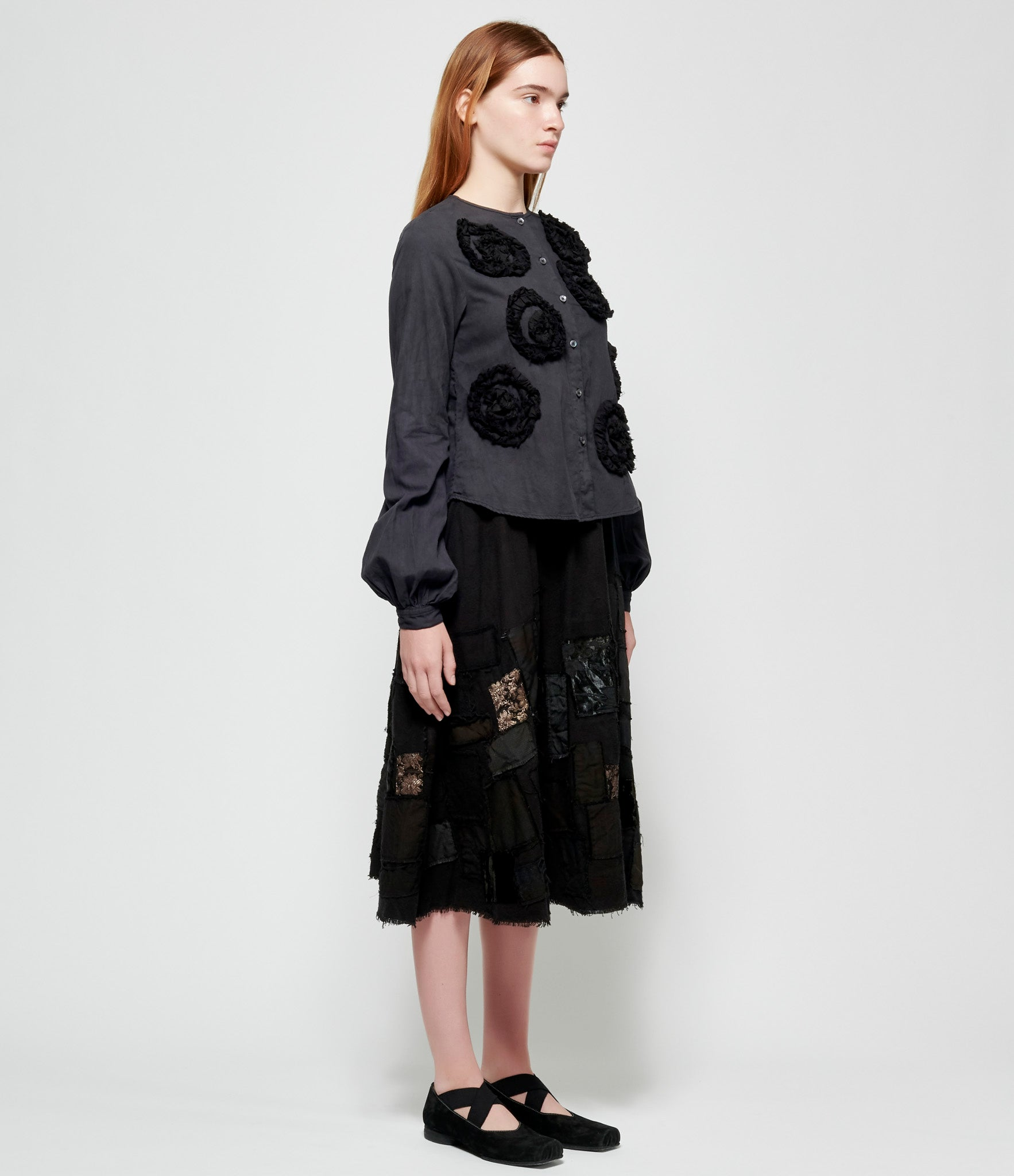 PHOS PHORO Floral Applique Black Bell Sleeve Shirt