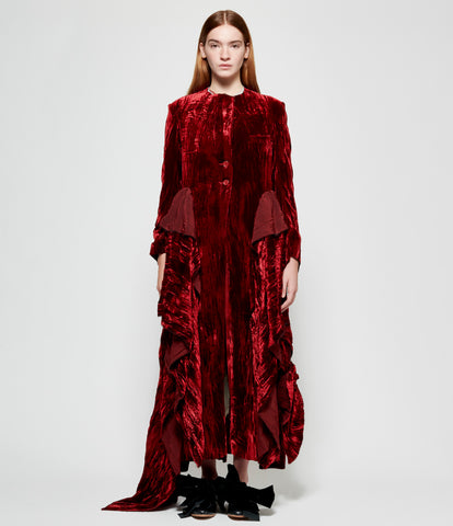Elena Dawson Red Crushed Silk Velvet Draped Pocket Hacking Coat