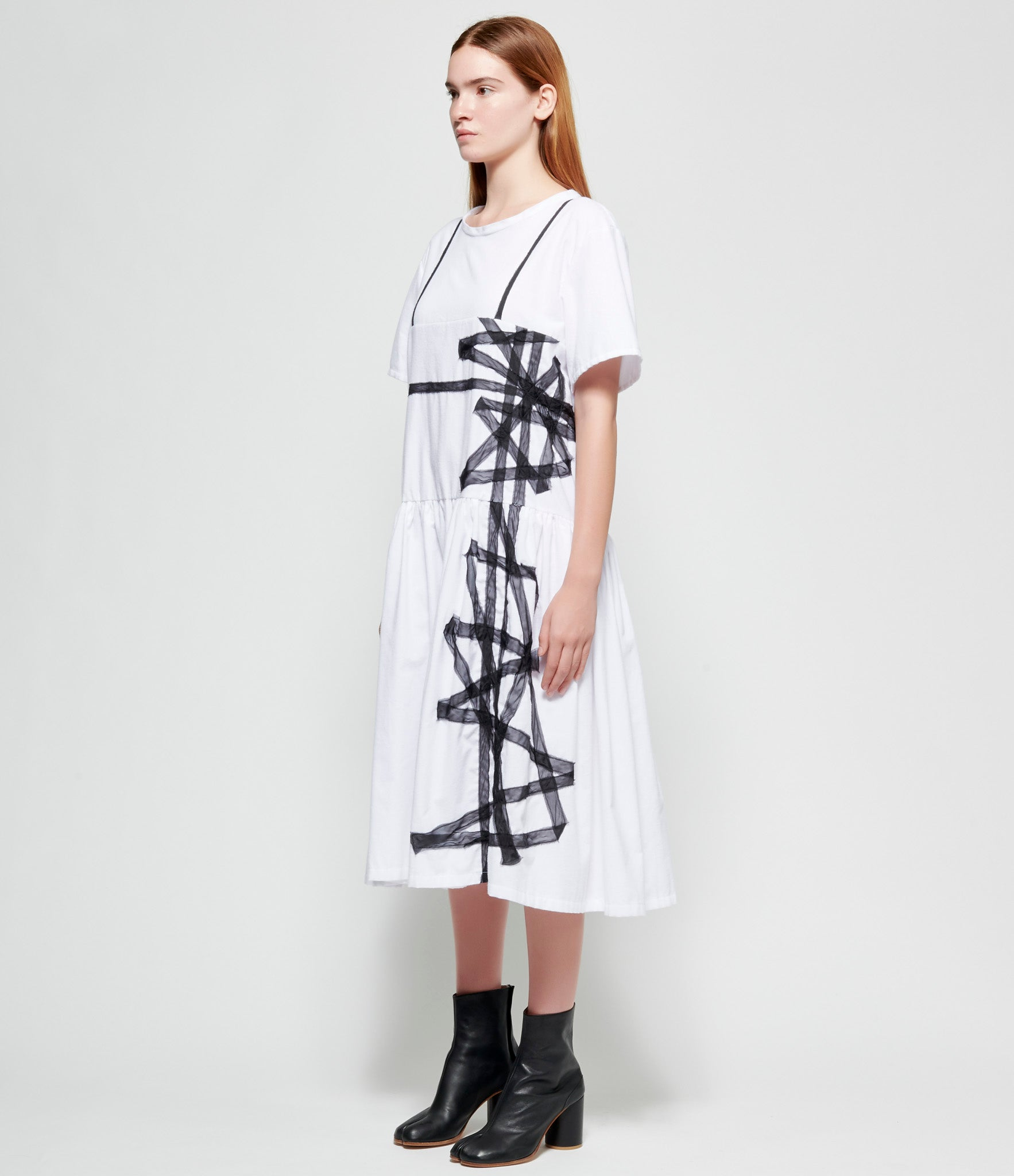 Maria Turri Ribbon Appliquéd Hot Cotton Dress