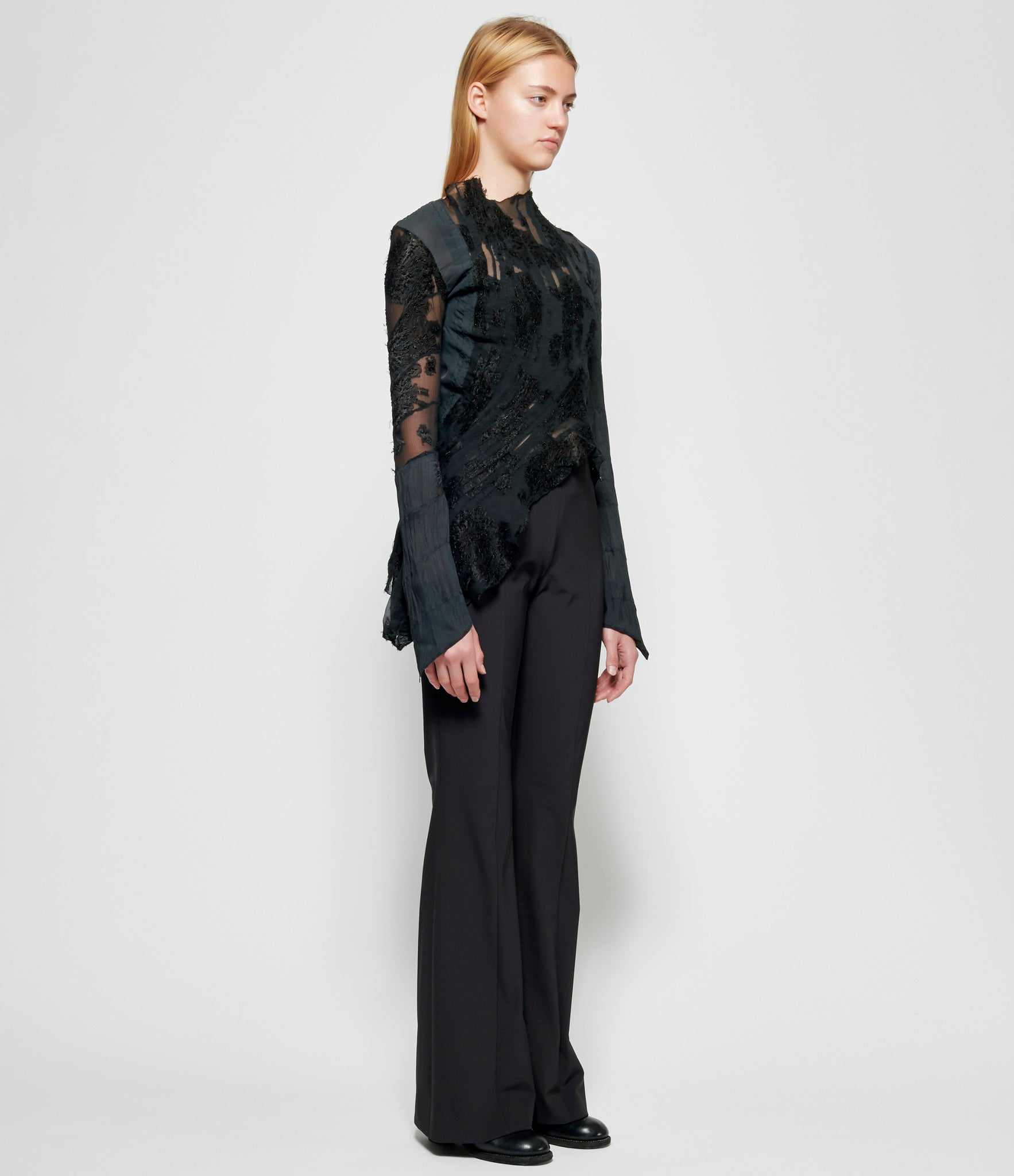 Marc Le Bihan Asymmetrical Pleated Embroidered Viscose Silk Top