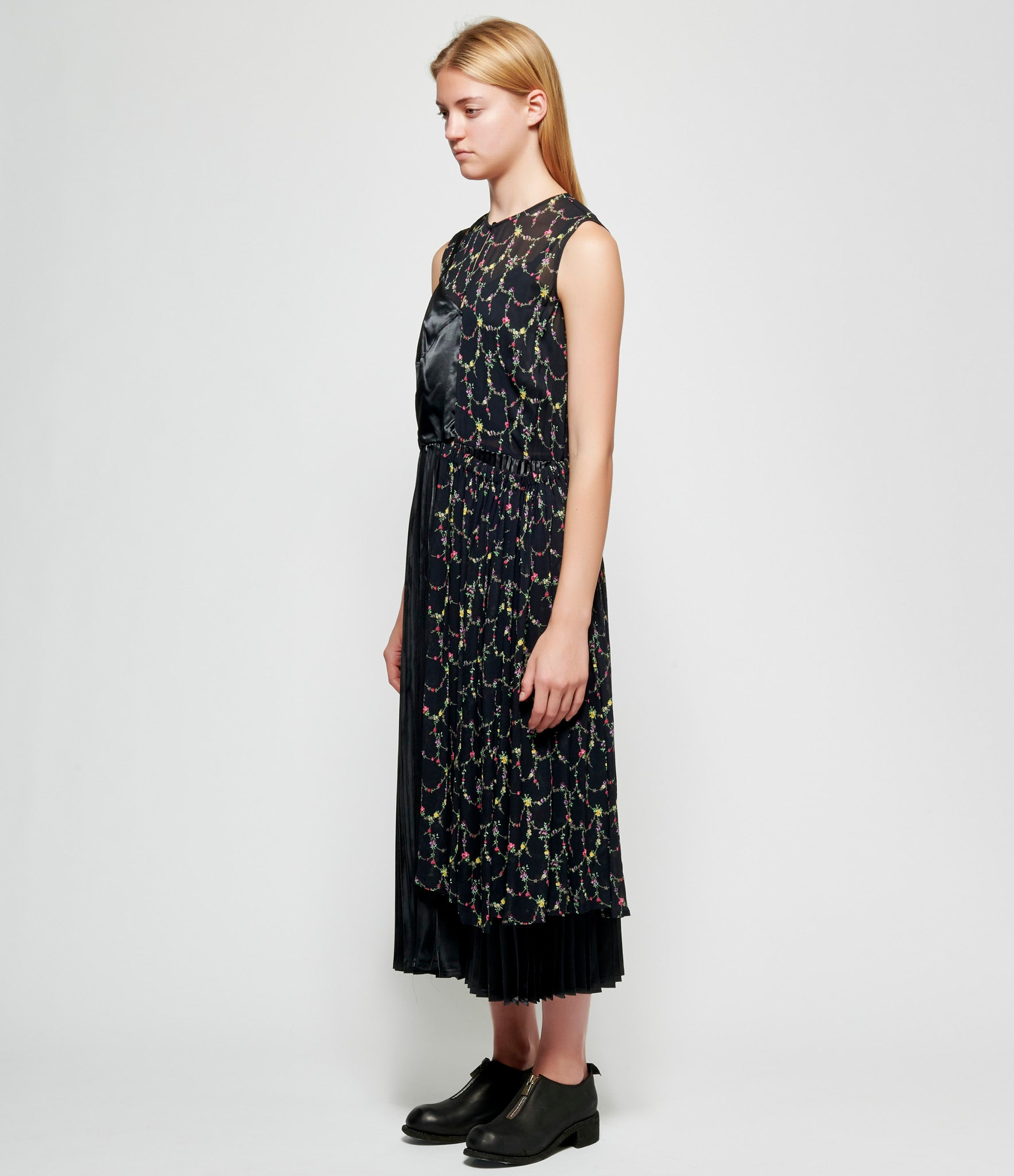 Junya Watanabe Viscose Georgette Thick Small Flower Pattern x Polyester Satin Dress