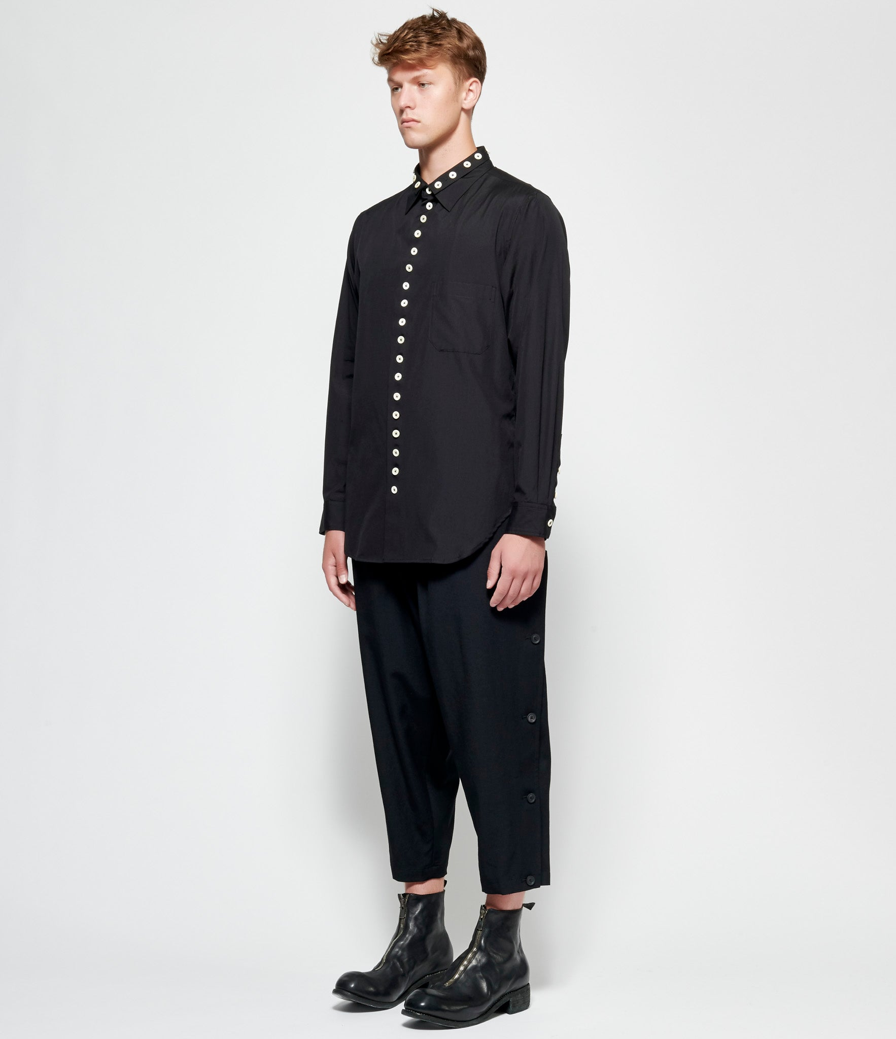 Yohji Yamamoto Pour Homme Integrated-W Collar White Button Shirt