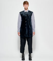 Comme Des Garcons Homme Plus Cotton Broad Stripe x Polyester Crashed Velour Shirt