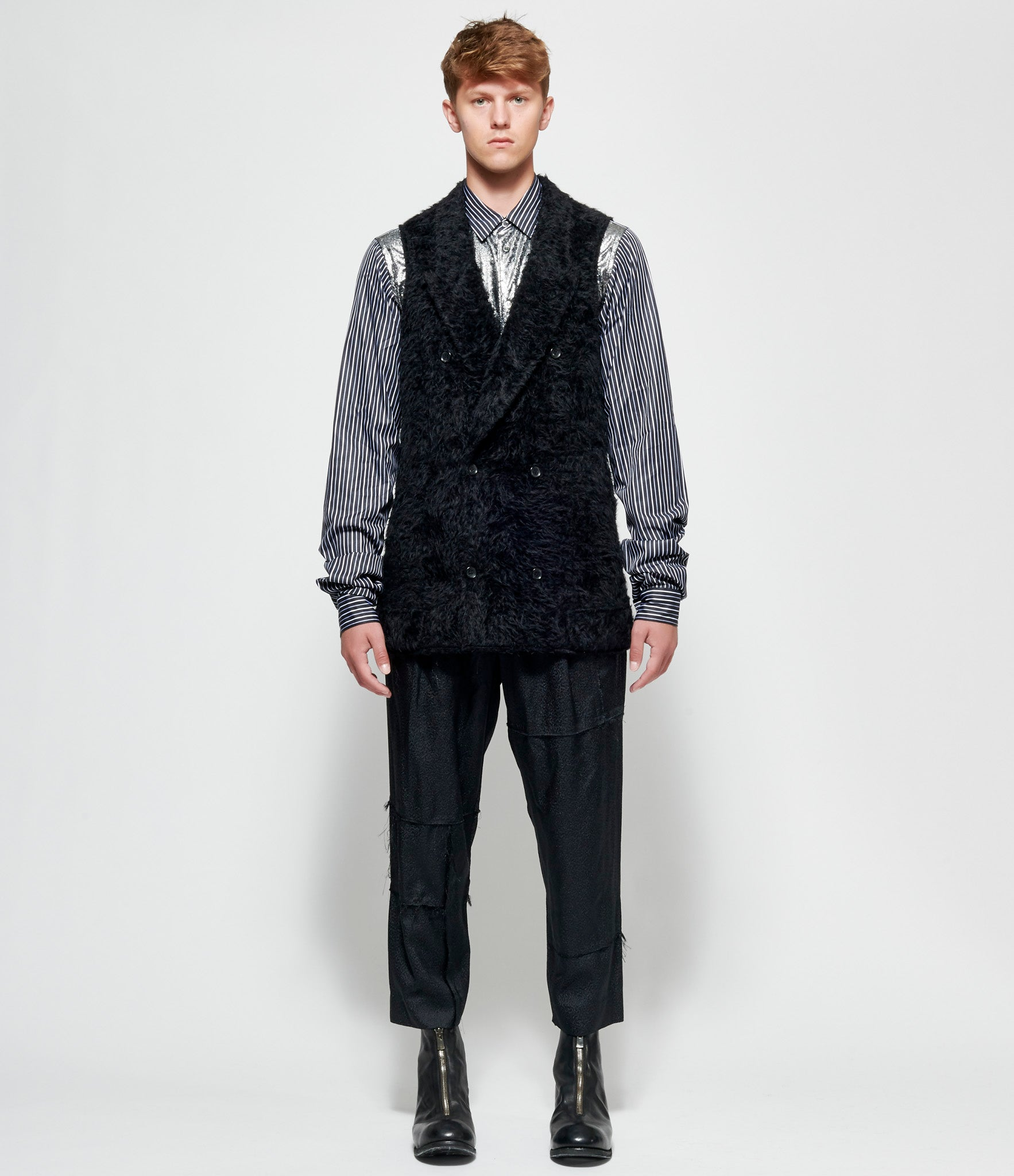 Comme Des Garcons Homme Plus Wool Synthetic Fur Astrakhan x Cupro Twill Layered Jacket