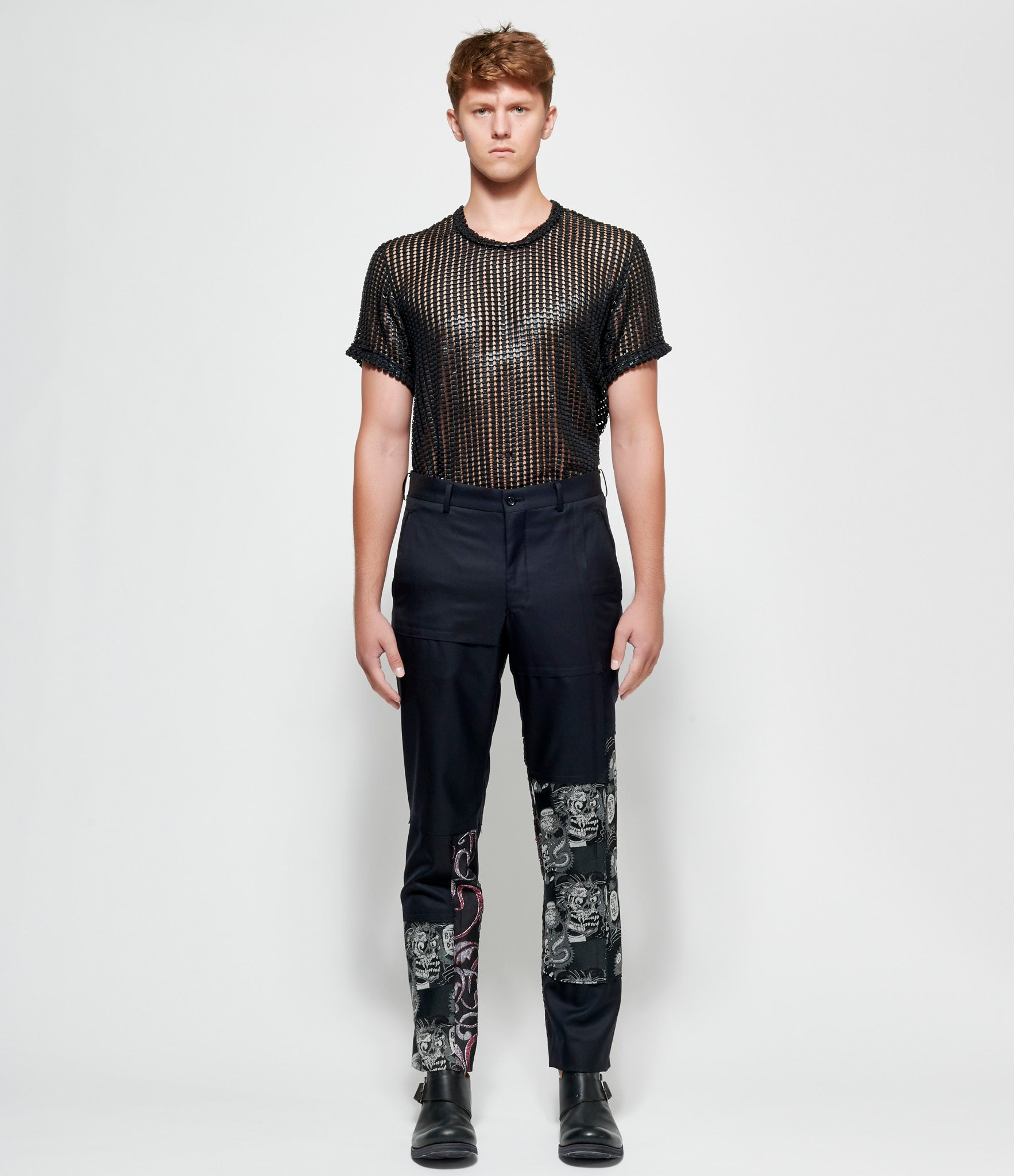 Comme Des Garcons Homme Plus Fabric Patchwork Wool Twill Pants