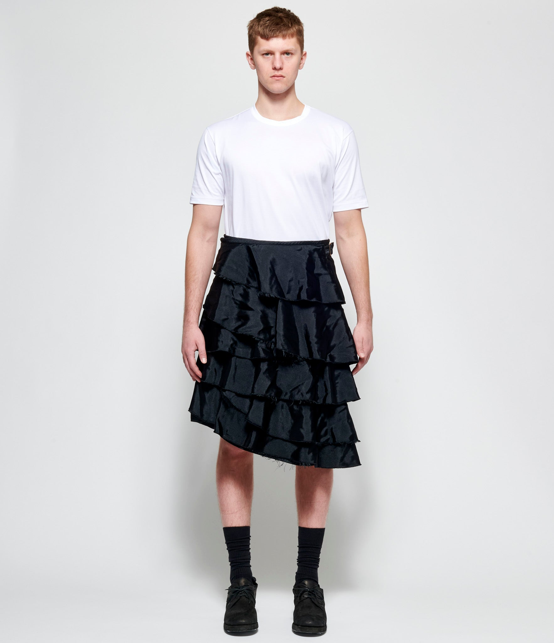 Comme Des Garcons Homme Plus Polyester Satin Garment Treated Wrap Skirt