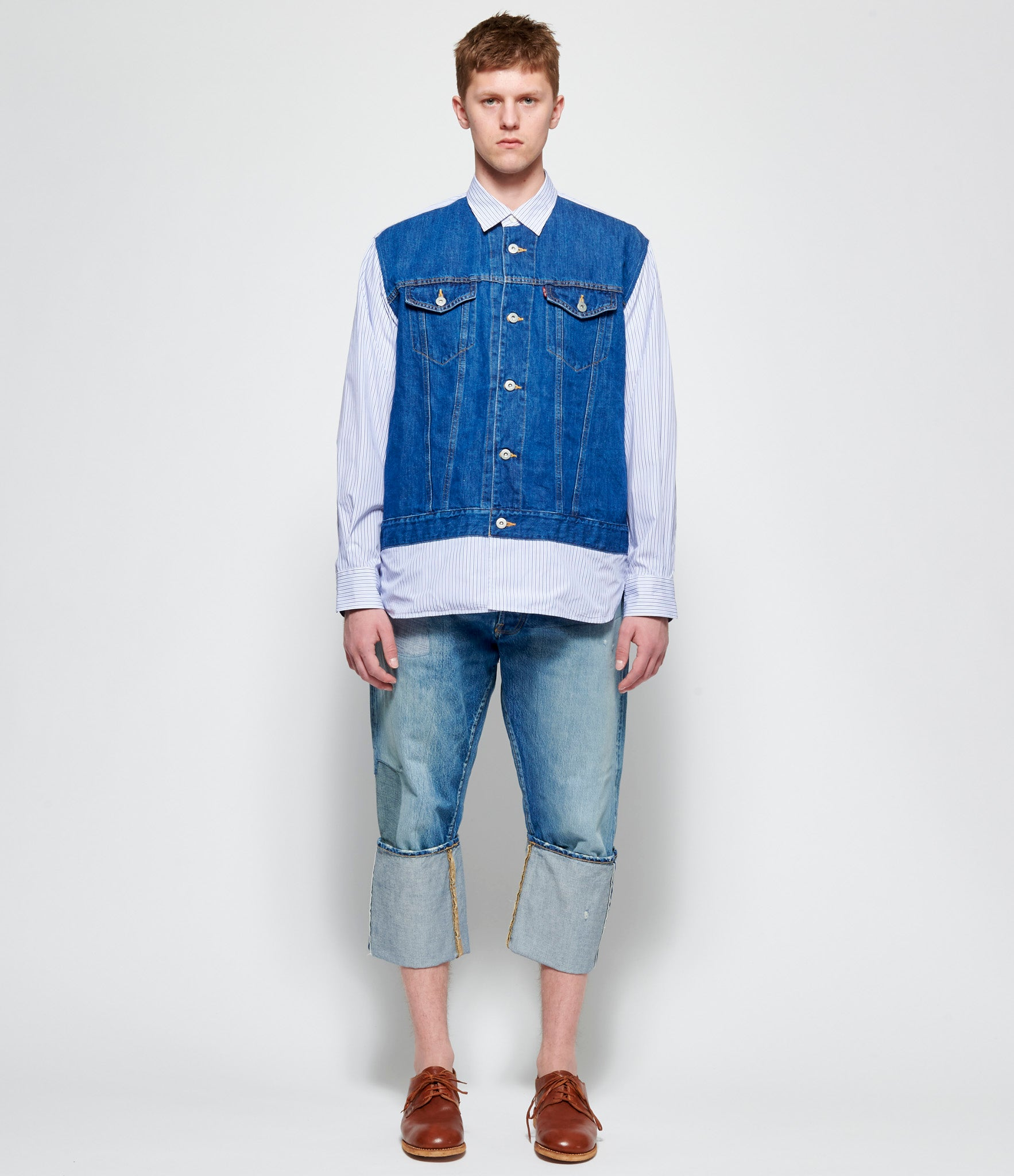 Junya Watanabe Man Cotton Linen Denim x Cotton Stripe Levi's W Name Shirt