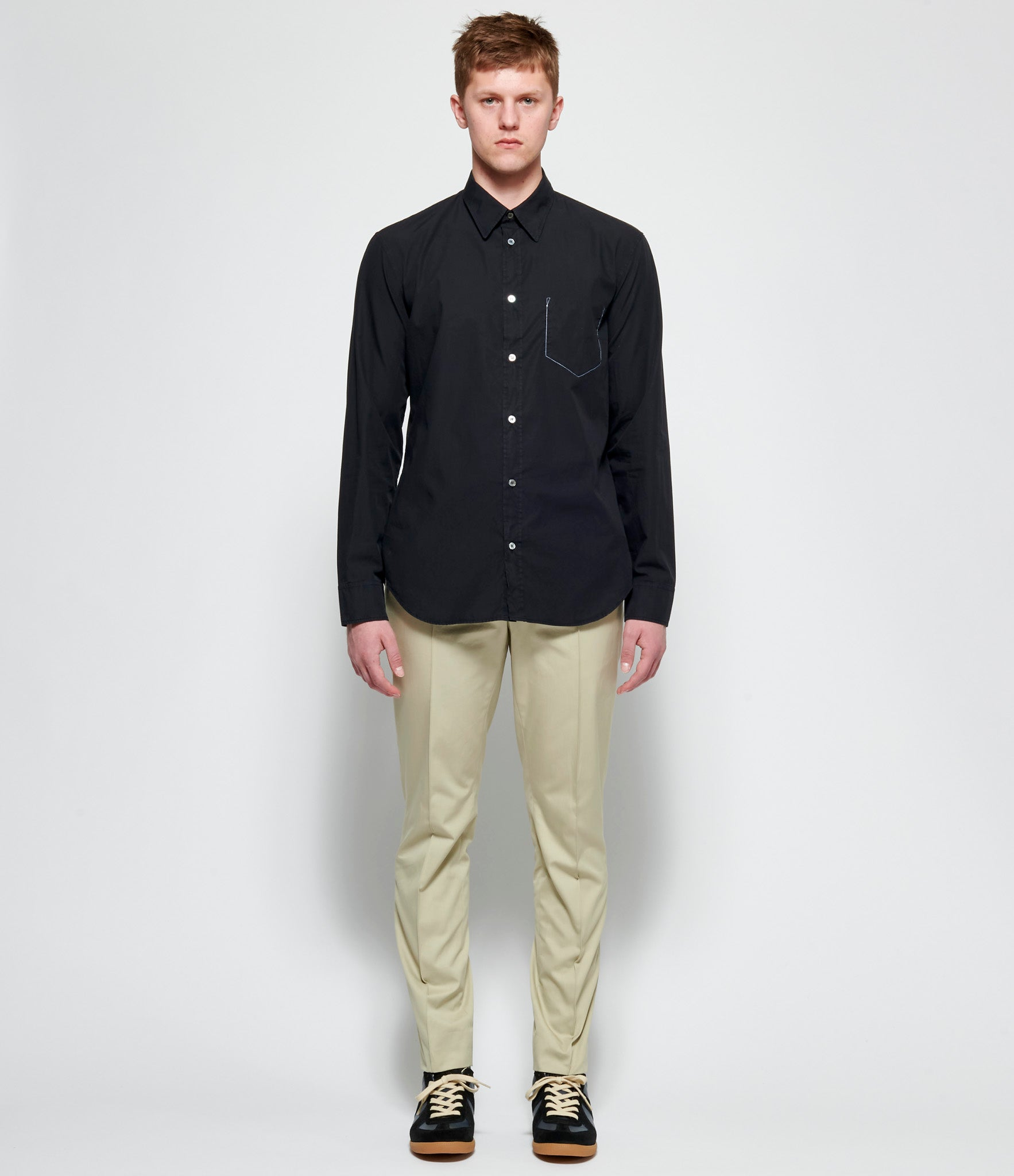 Maison Margiela Black Garment Dyed Slim Fit Shirt
