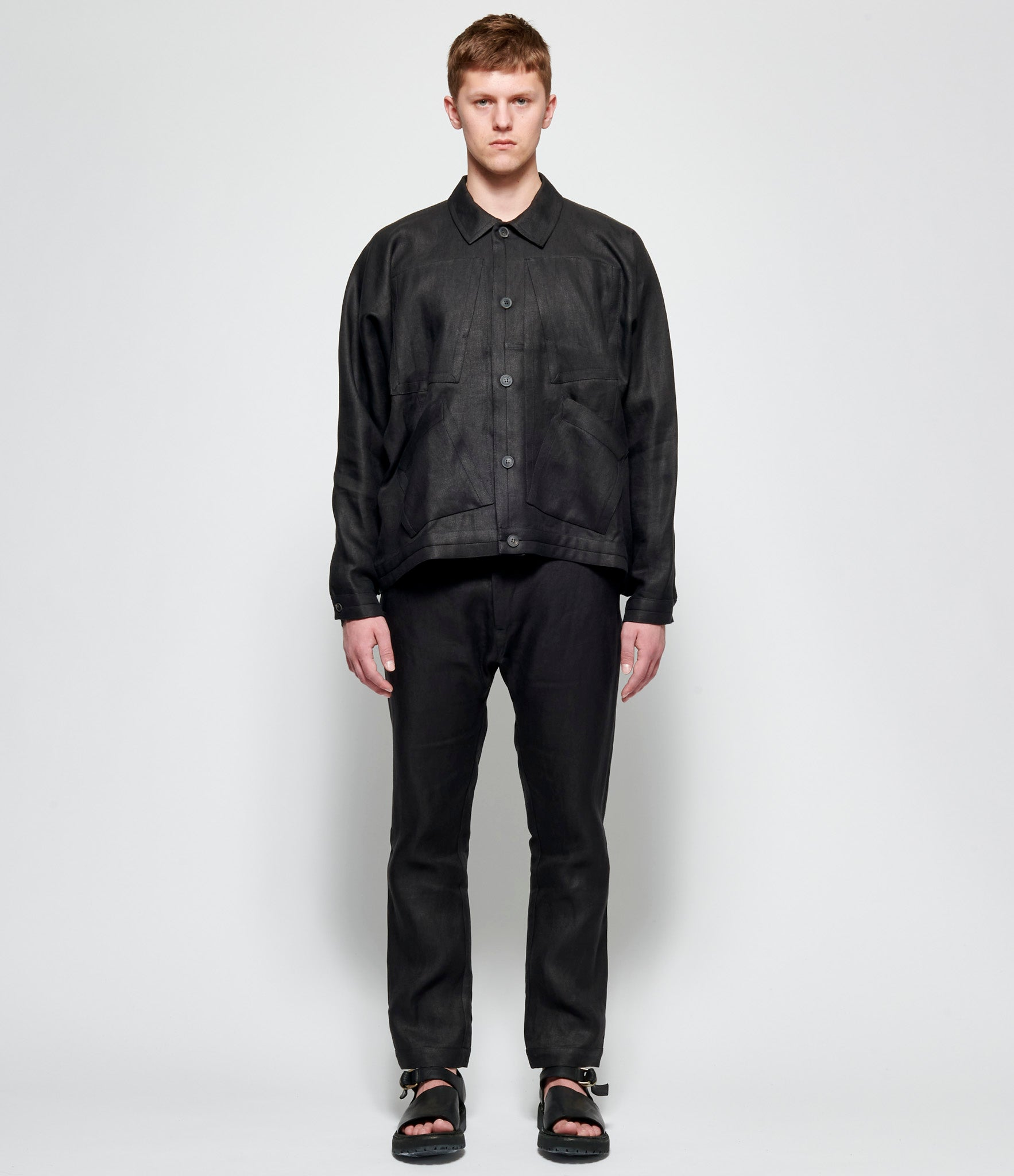 Jan Jan Van Essche Black Hemp Twill Trucker Jacket