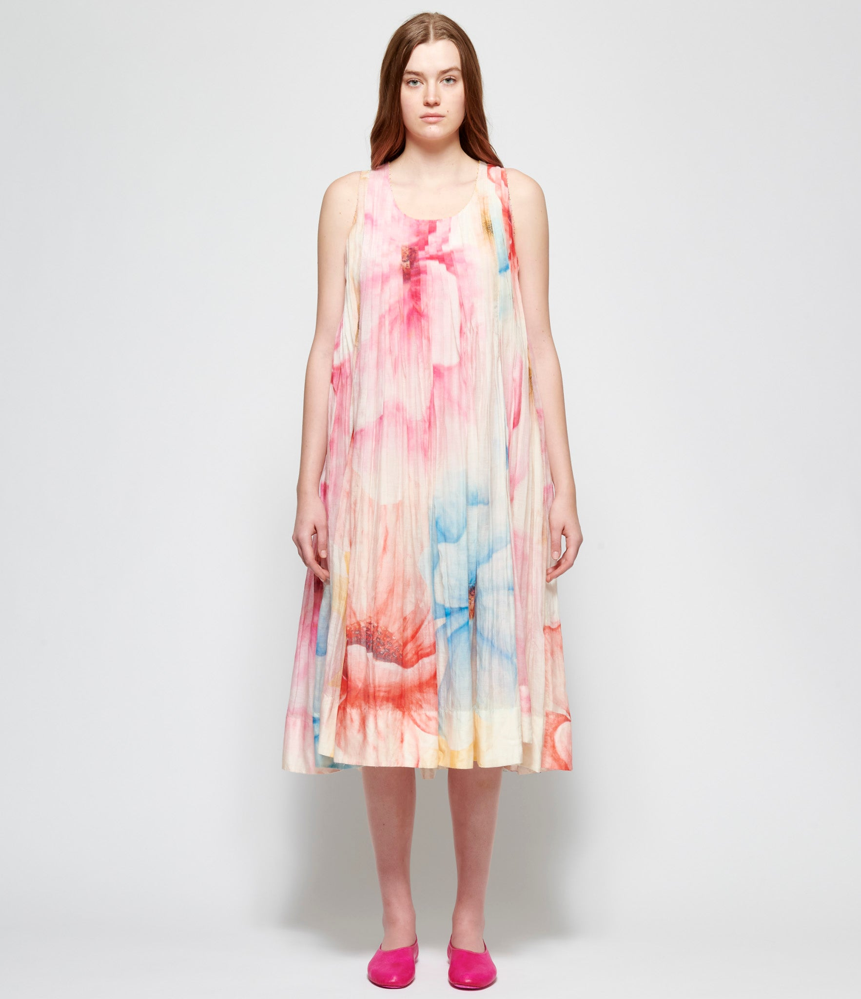 Pero Pleated Floral Cotton Silk Dress