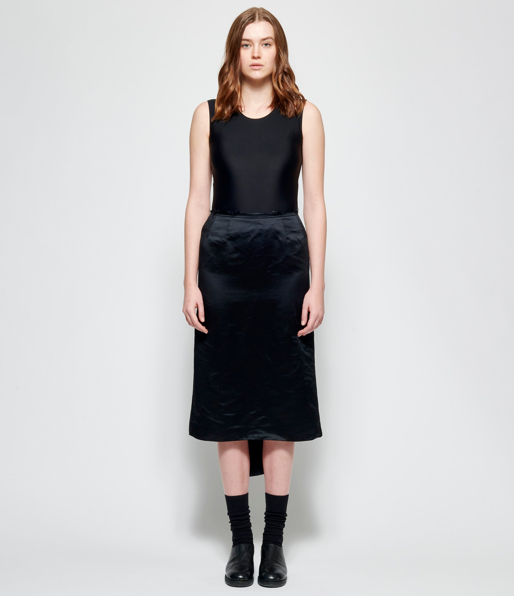 Comme Des Garcons Polyester Satin Garment Treated Skirt