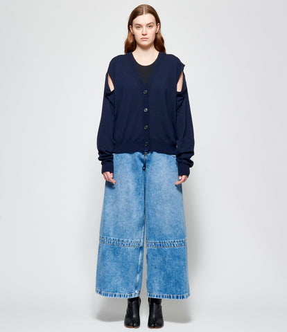 Maison Margiela Arm Hole Oversized Navy Blue Cardigan