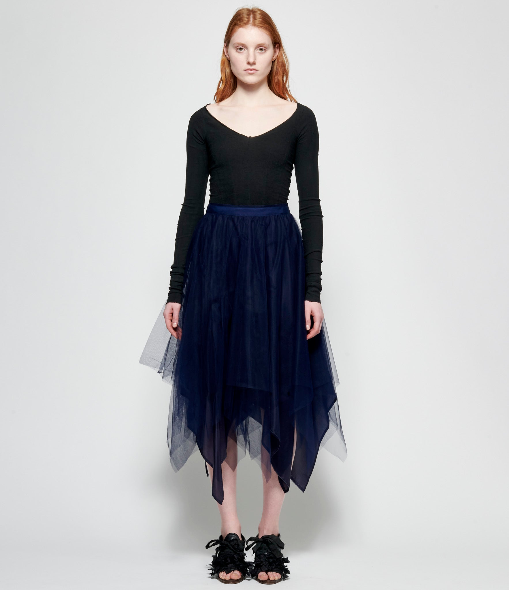 Marc Le Bihan Navy Shifted 3 Layer Tulle Skirt