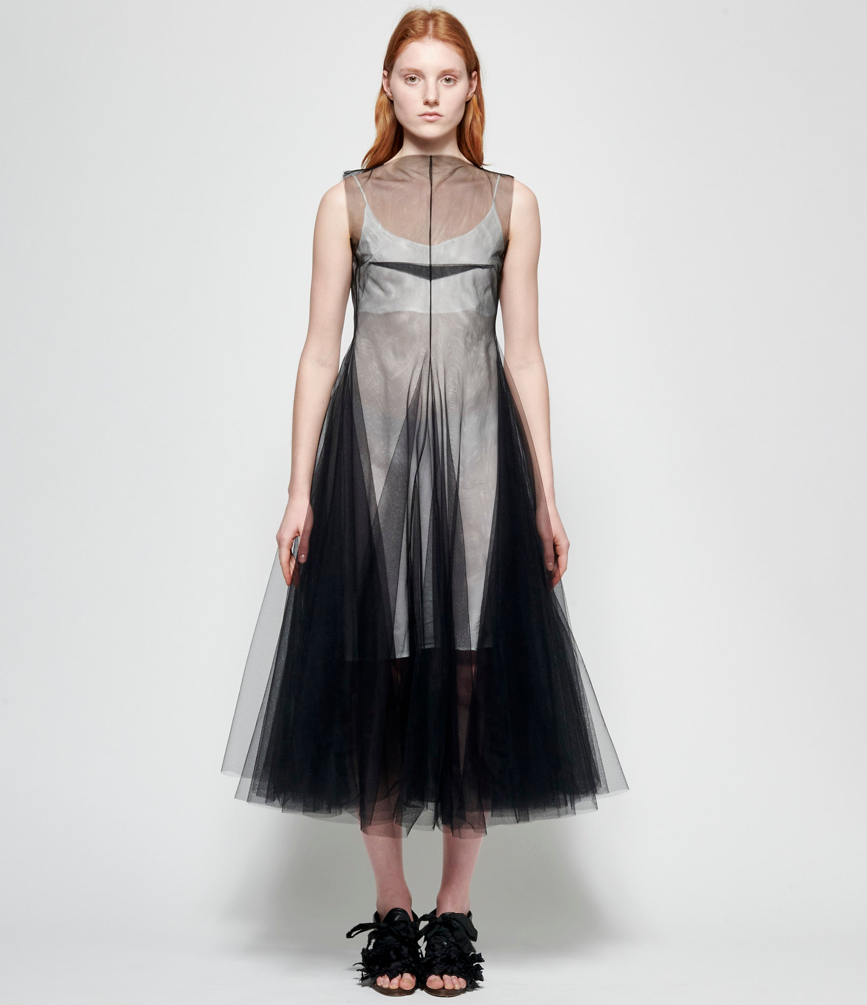 Marc Le Bihan Black Cross Clamp Tulle Dress