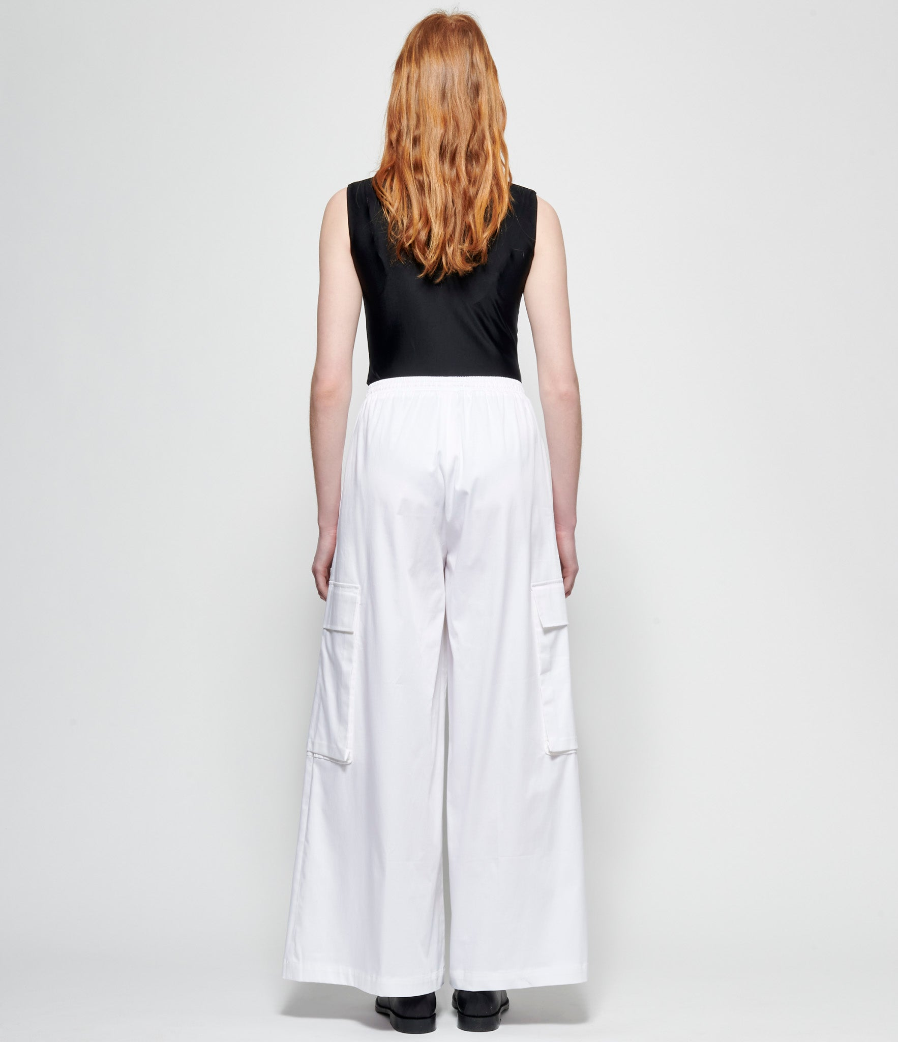 Replika White Satin Cotton Cargo Pants