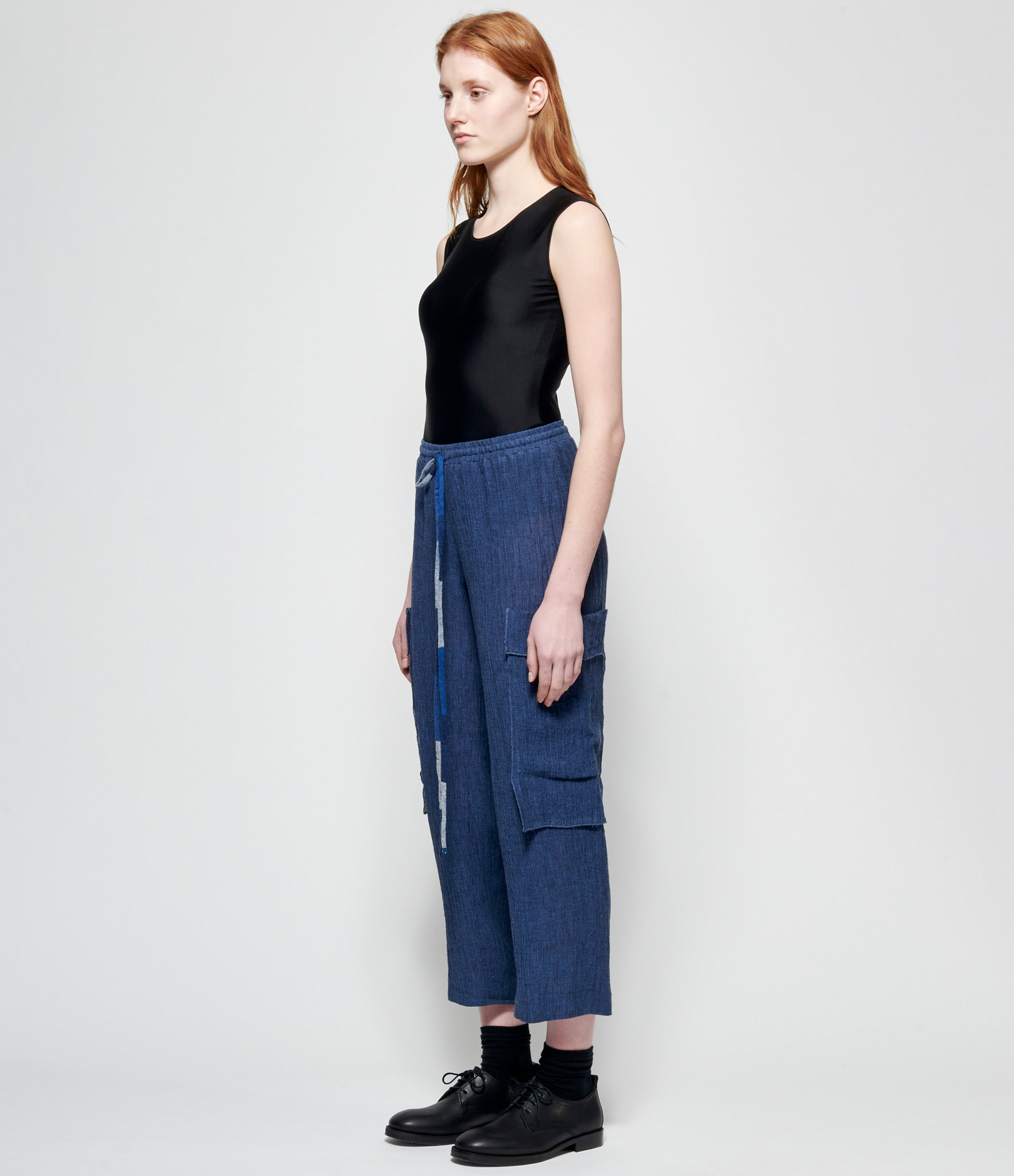 Replika Blue Linen Gauze Cargo Pants