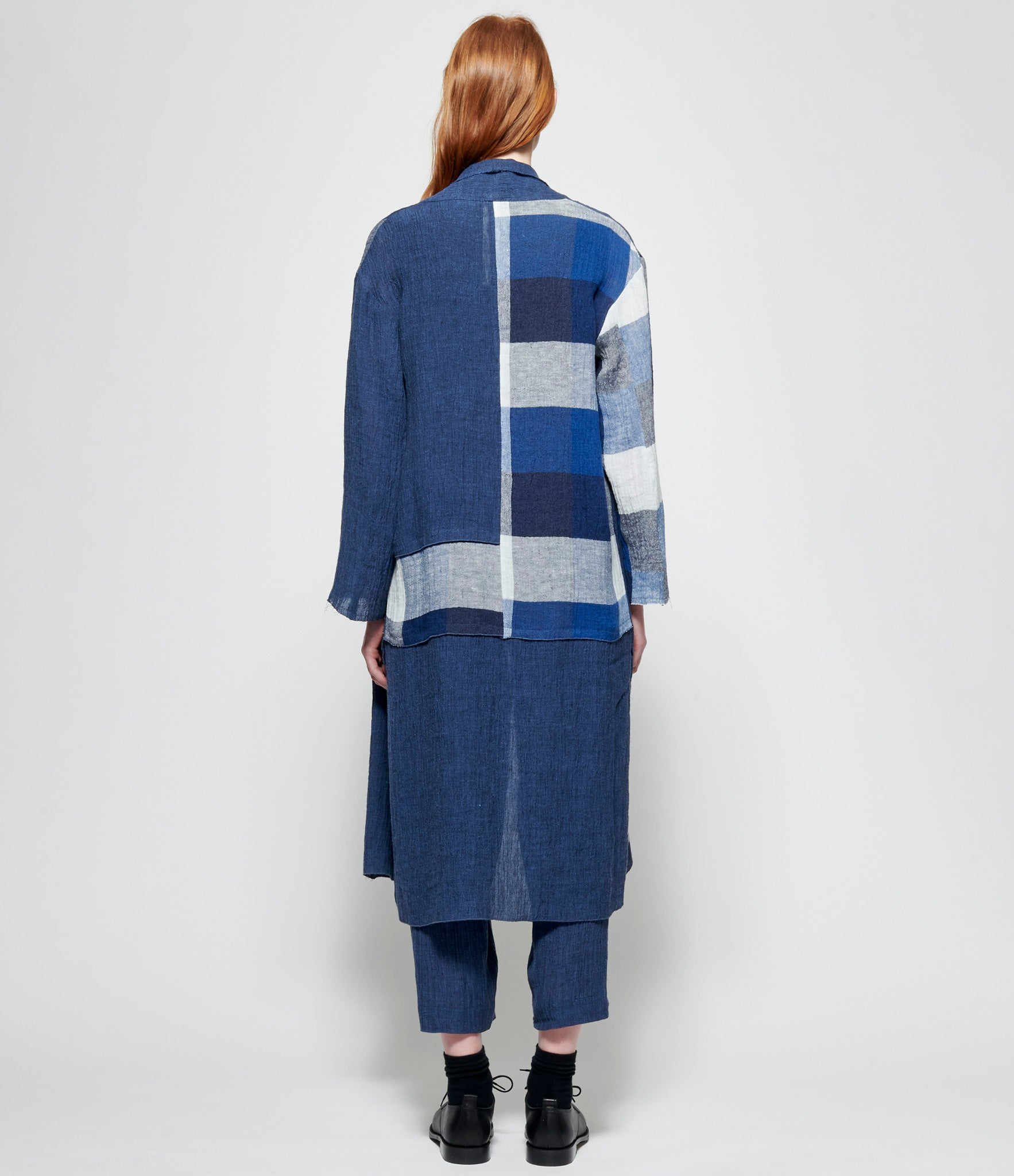 Replika Blue Check Duster Coat