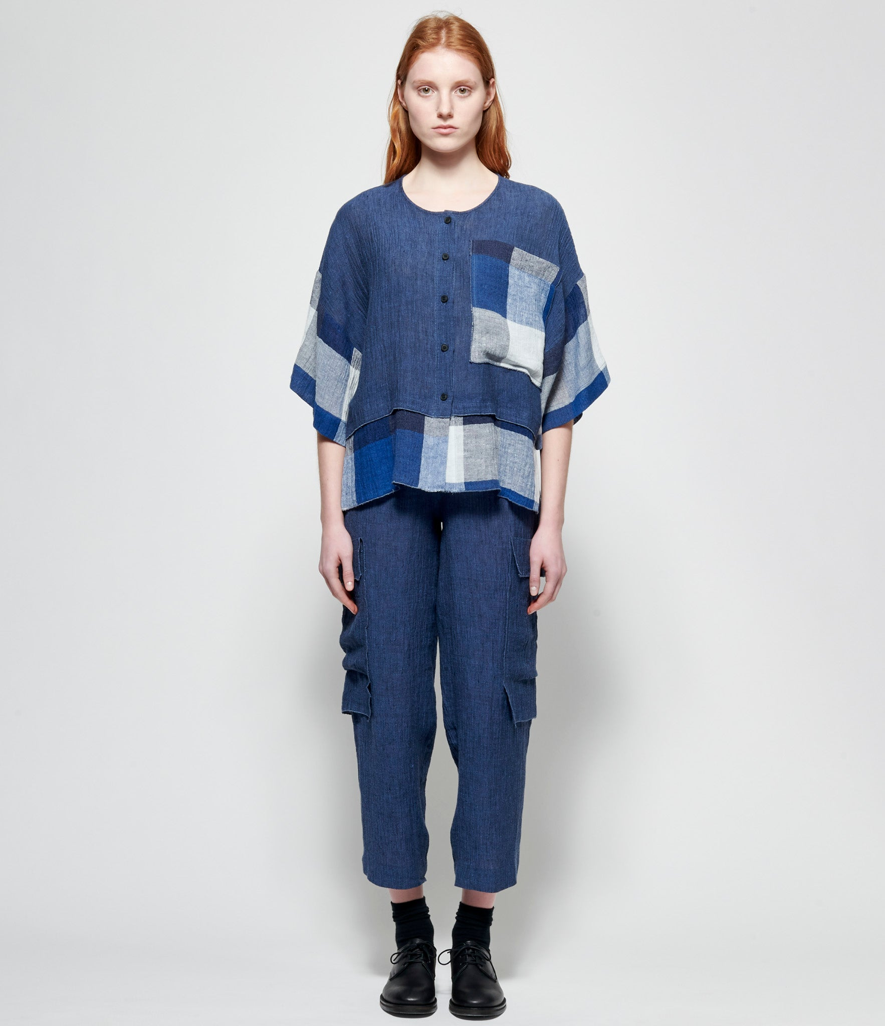 Replika Blue Check Linen Gauze Top