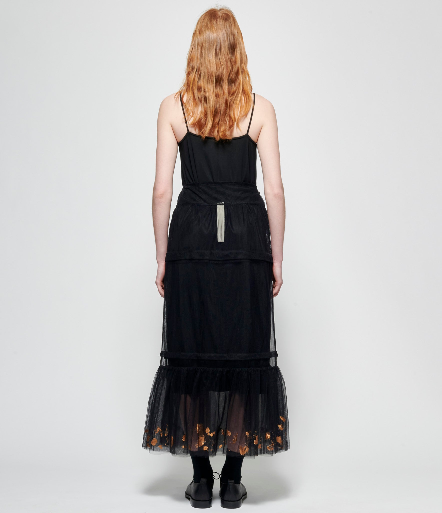 Replika Hand Painted Bronze Black Polyester Tulle Skirt