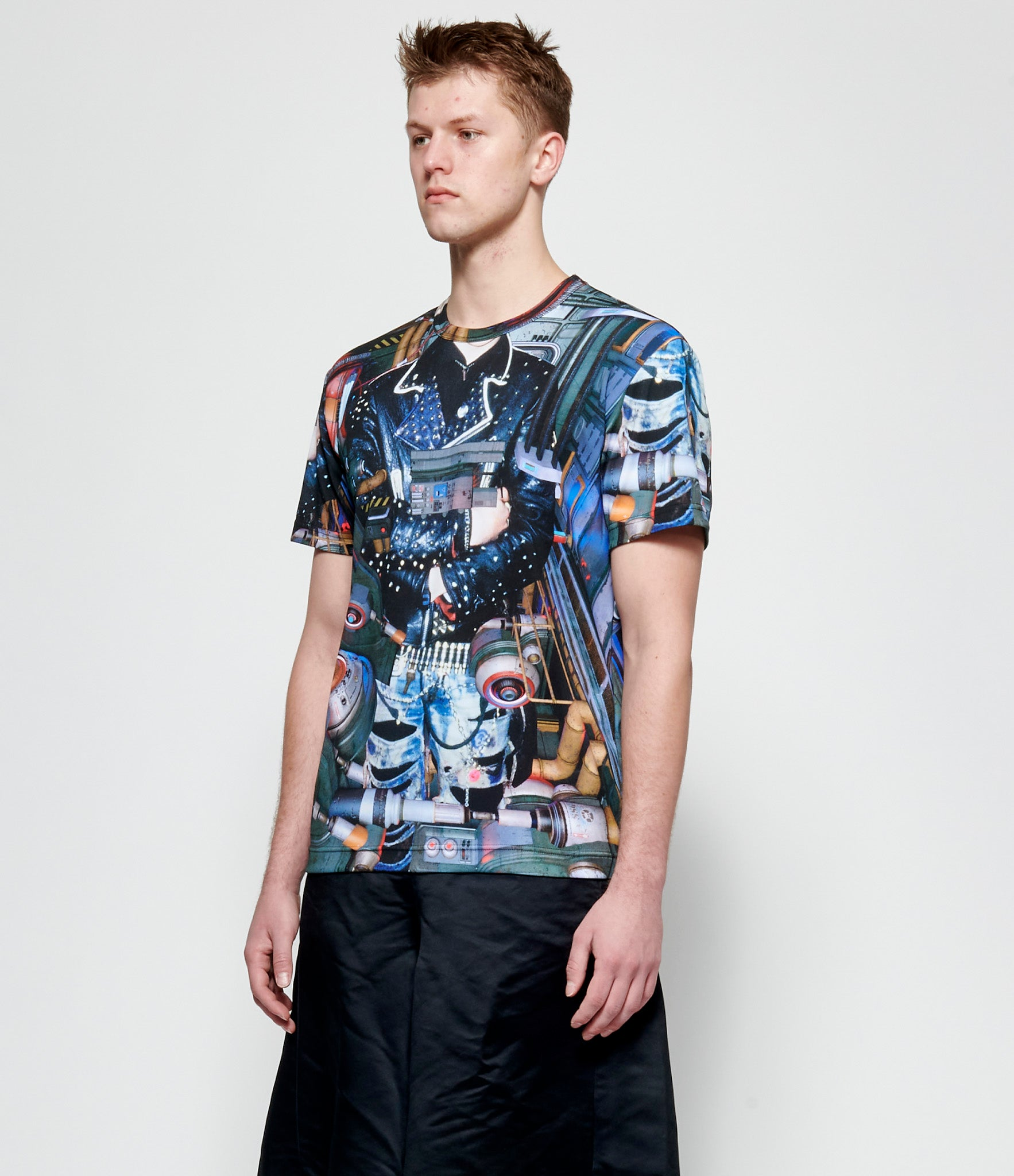 Comme Des Garcons Homme Plus Polyester Jersey Inkjet Print T-Shirt