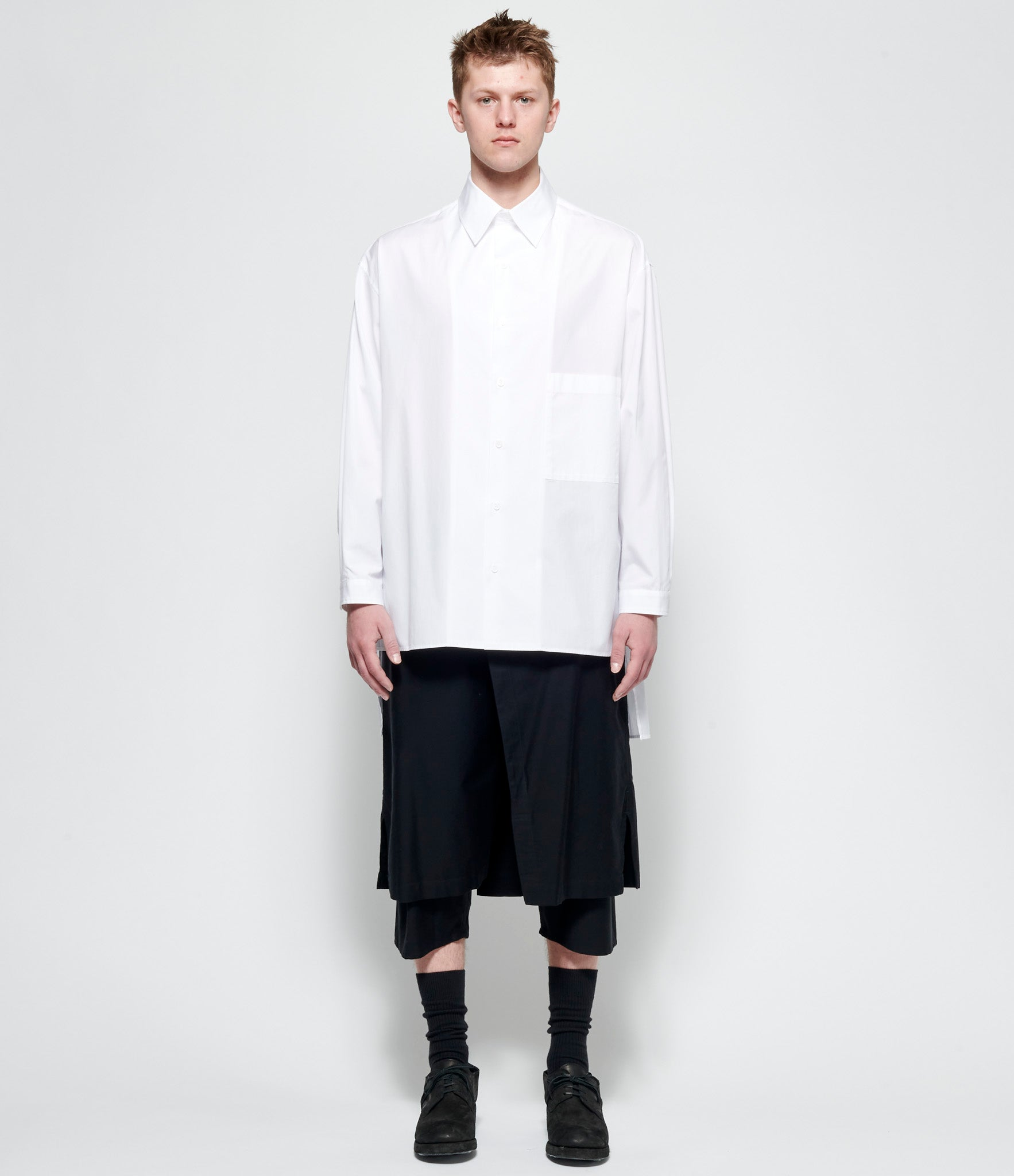 Yohji Yamamoto Pour Homme White M-FB Difference B Broad Shirt
