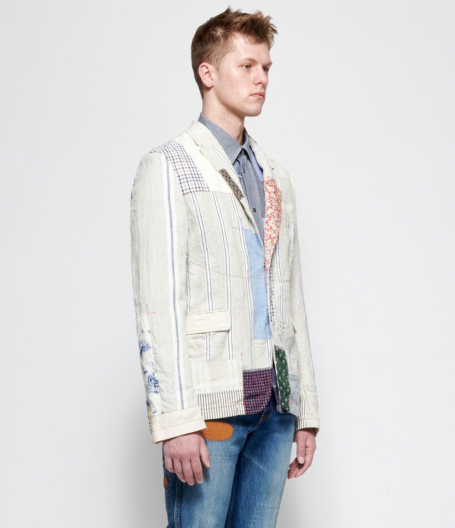 Junya Watanabe Man Linen Cloth Stripe x Multi Fabric Mix Blazer