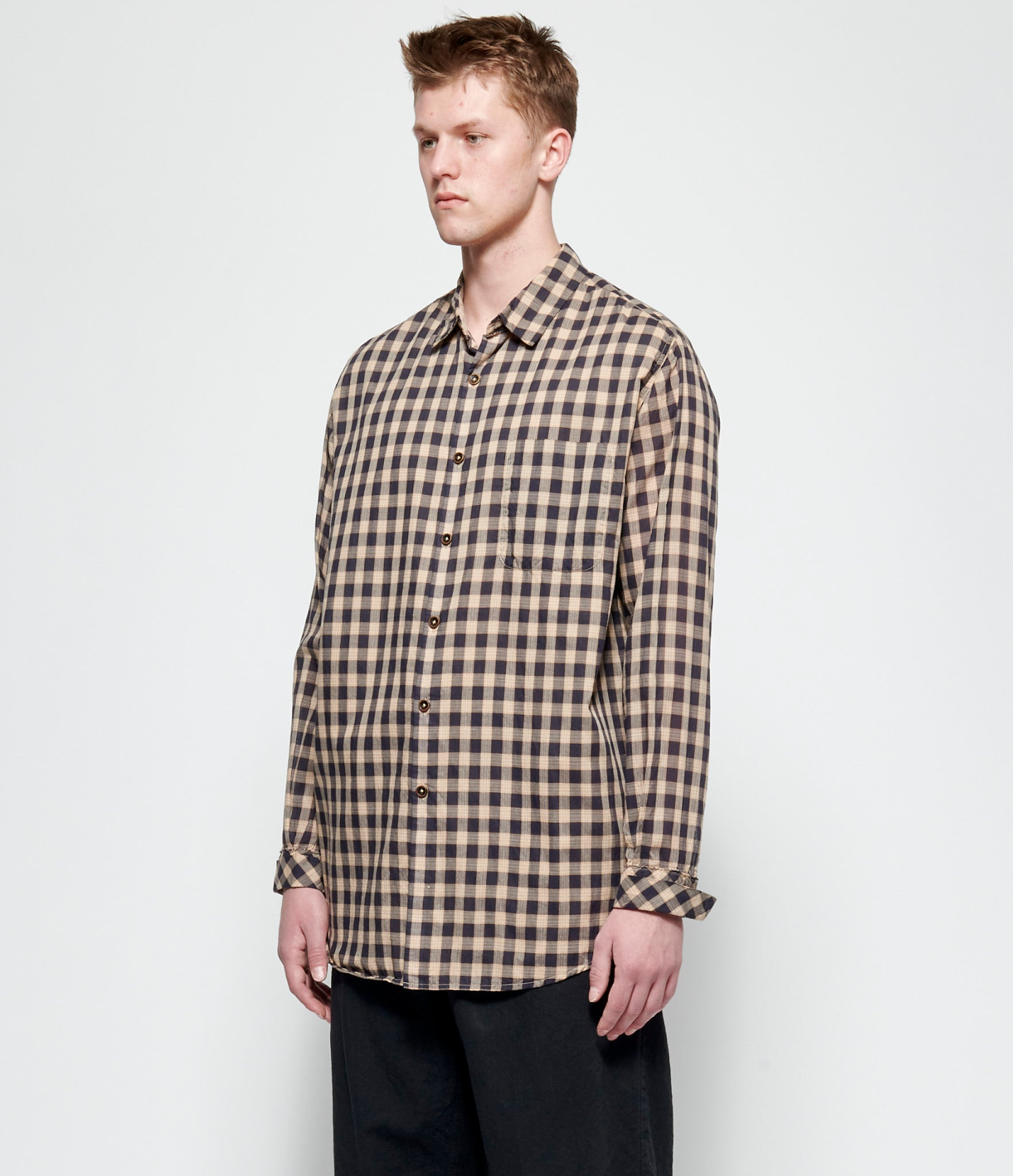 'T Ensemble Plaid Bias Cuff Big Shirt