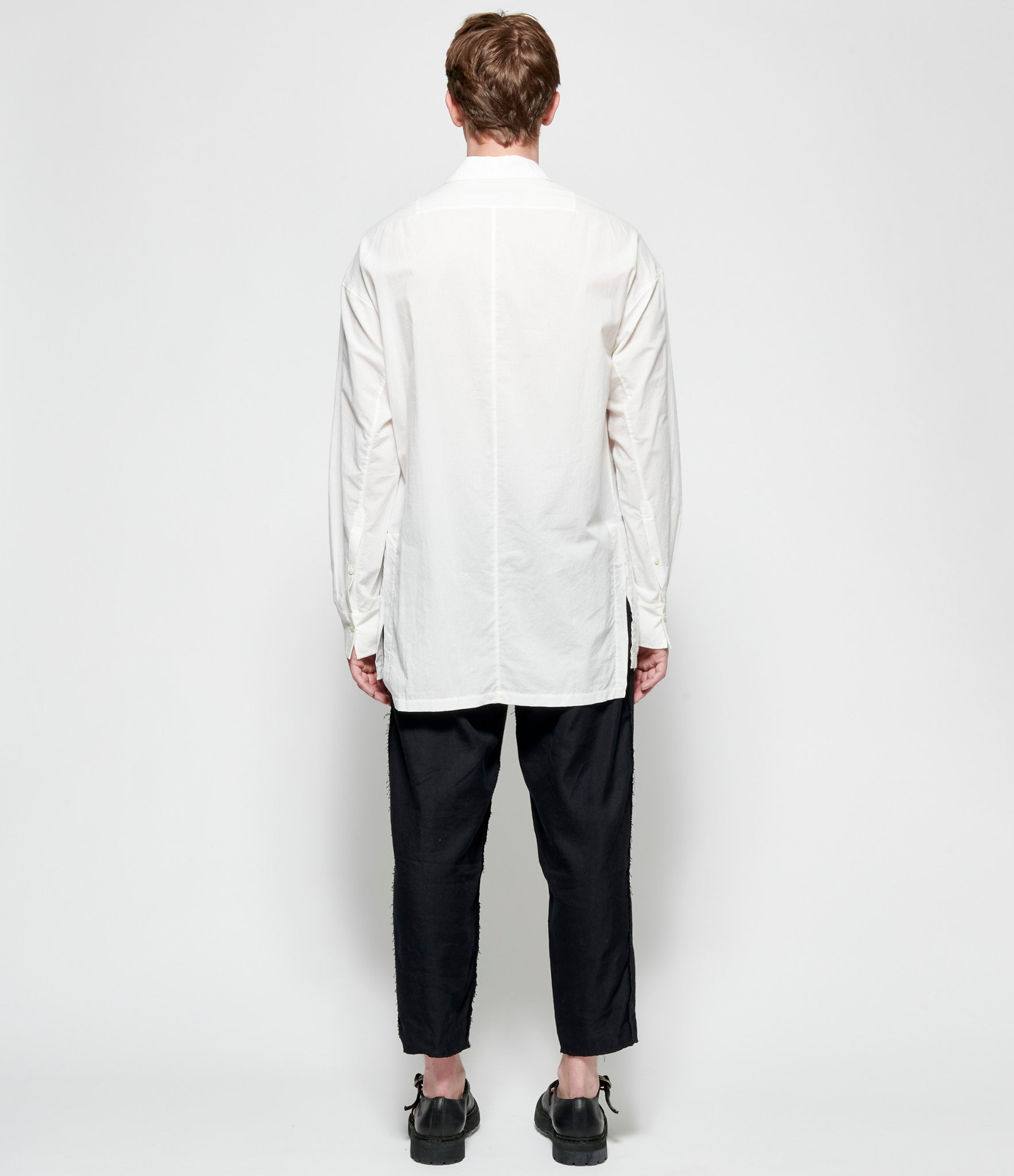 Ziggy Chen Pleated Appliqued White Cotton Shirt