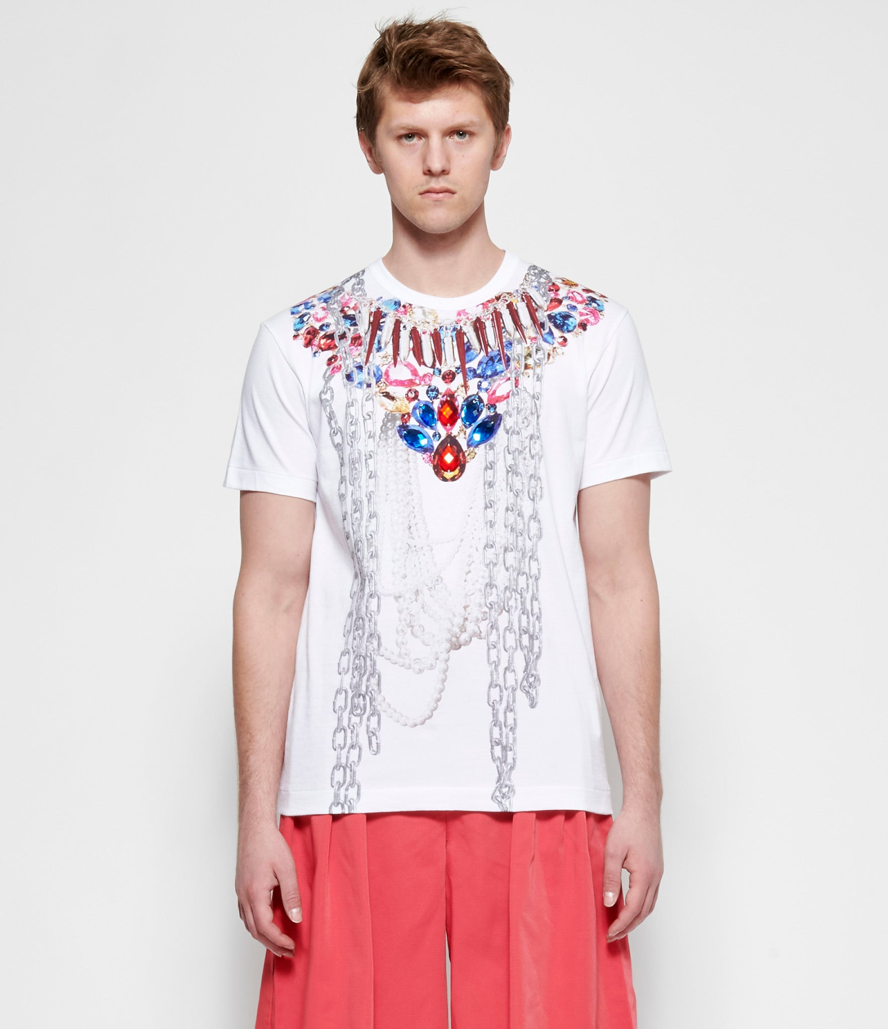 Comme Des Garcons Homme Plus Cotton Jersey Graphic Print Pearl Bead Embroidery T-Shirt