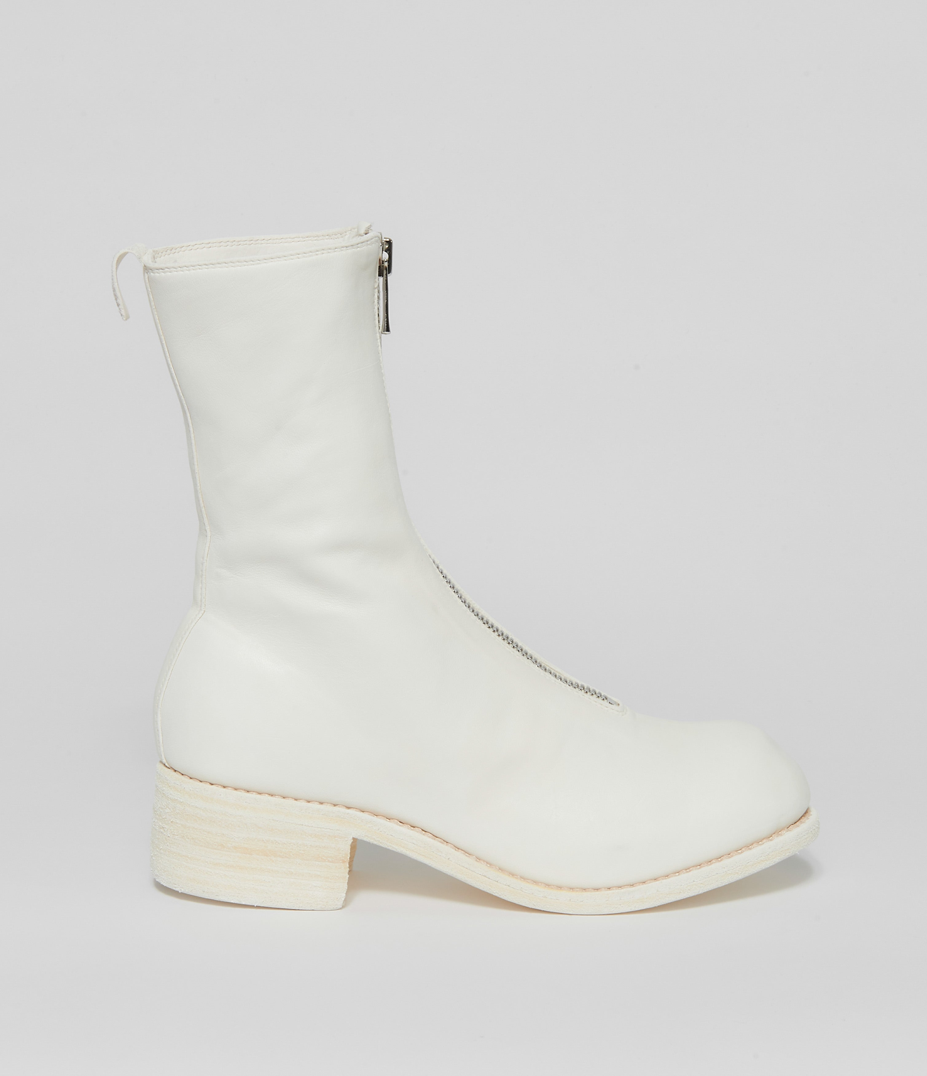 Guidi PL2 White Soft Horse Full Grain Front Zip Calf-Length Boots