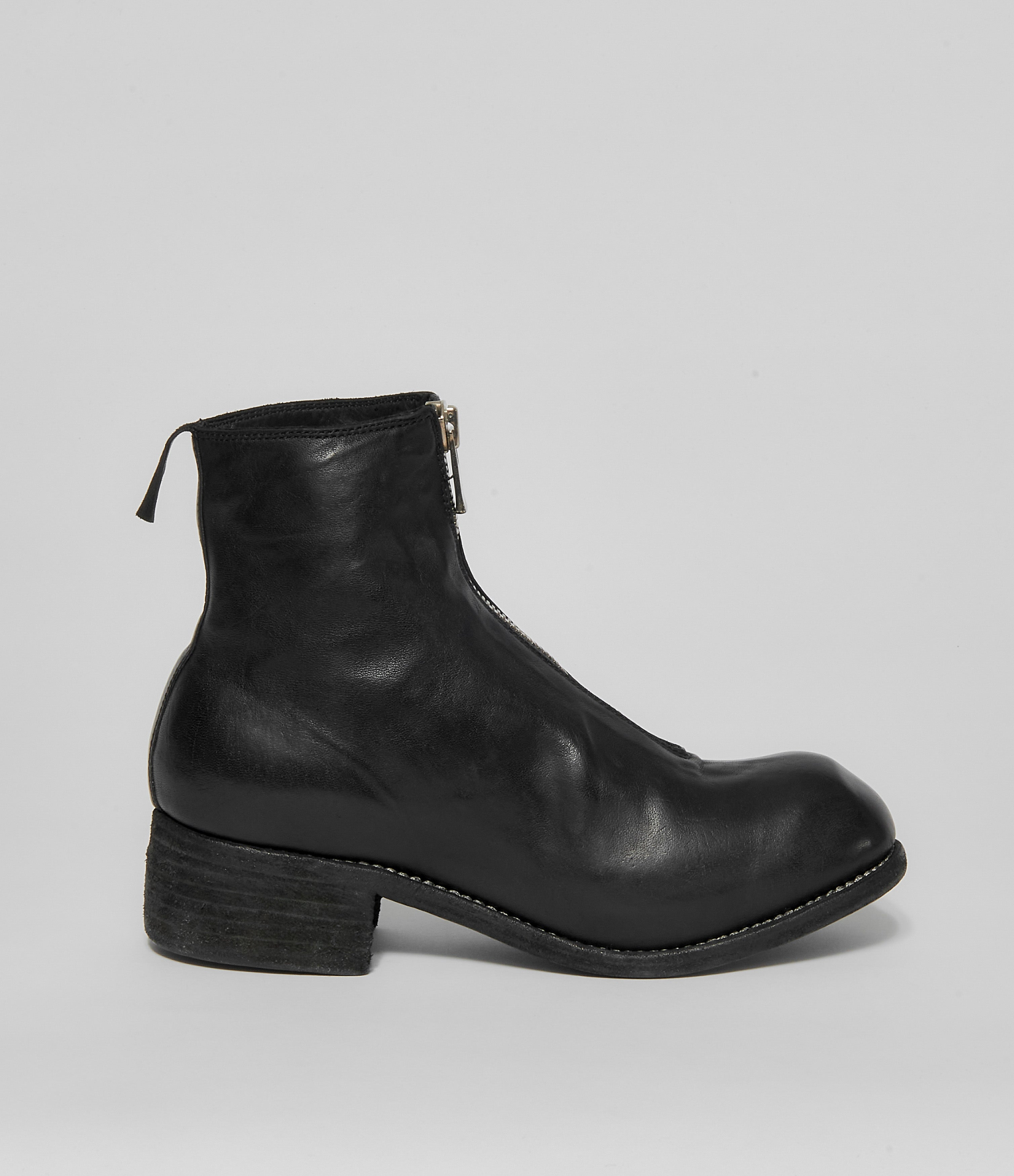 Guidi PL1 Black Soft Horse Full Grain Front Zip Ankle Boots