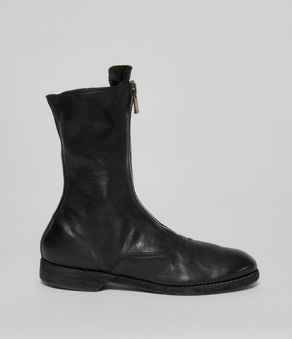 Guidi 310 Black Soft Horse Full Grain Front Zip Calf-Length Army Boots