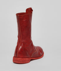 Guidi 310 Red Soft Horse Full Grain Front Zip Calf-Length Army Boots