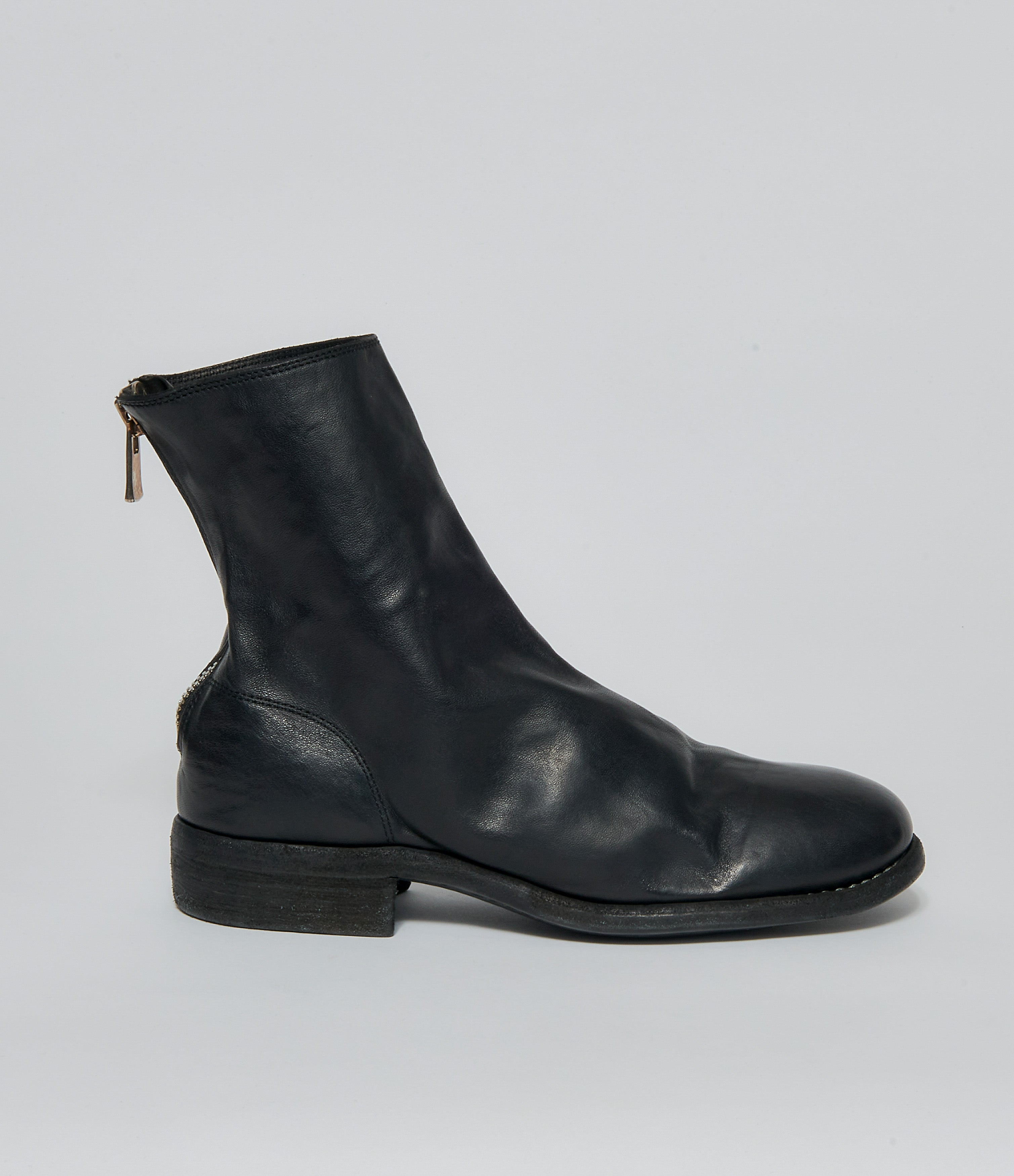 Guidi 986X Black Soft Horse Full Grain Back Zip Ankle Boots