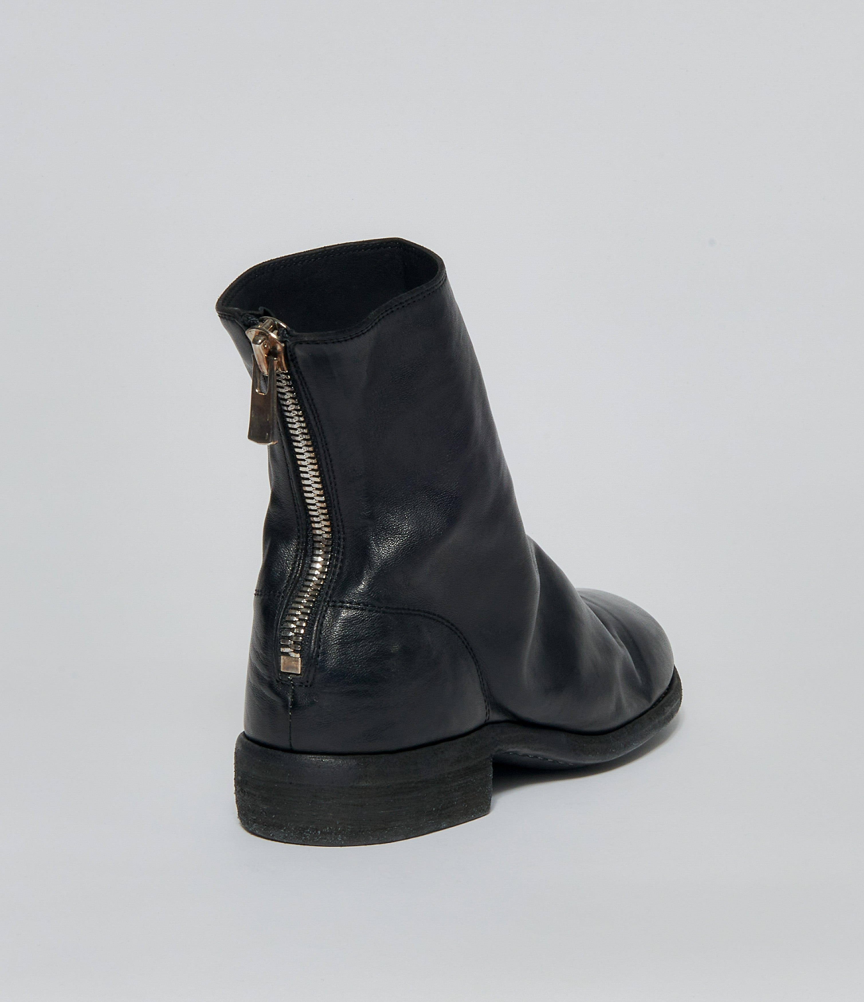 Guidi 796 Black Soft Horse Full Grain Back Zip Ankle Boots