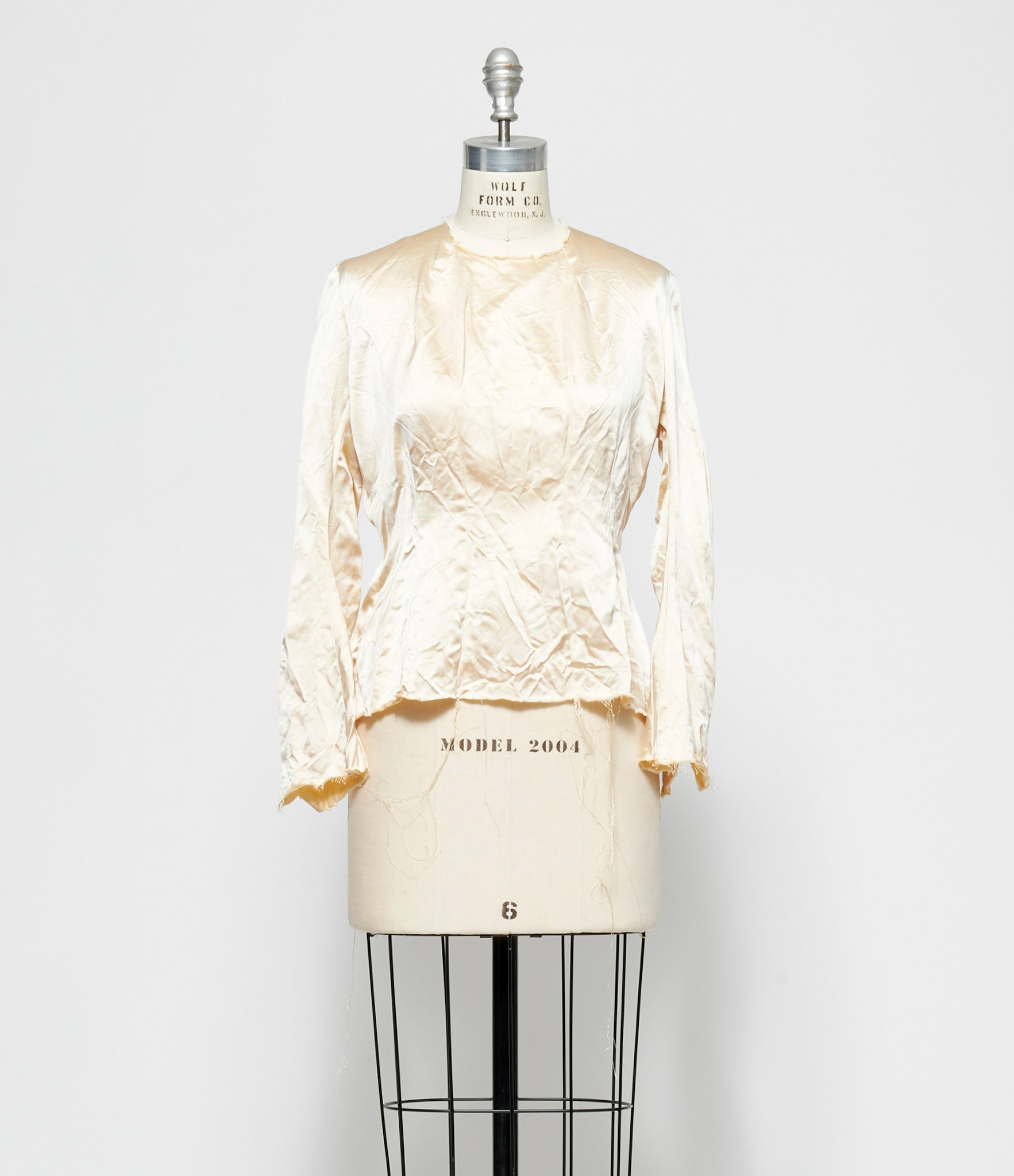 Elena Dawson Cream Silk Satin Knot Top