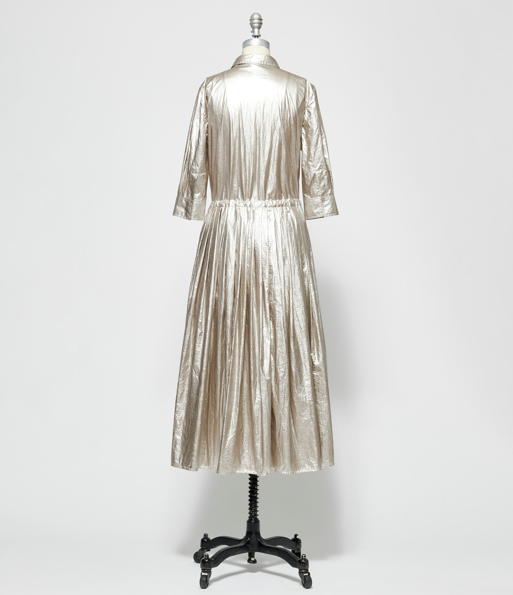 Sara Lanzi Silver Coated Nylon Chemisier Dress