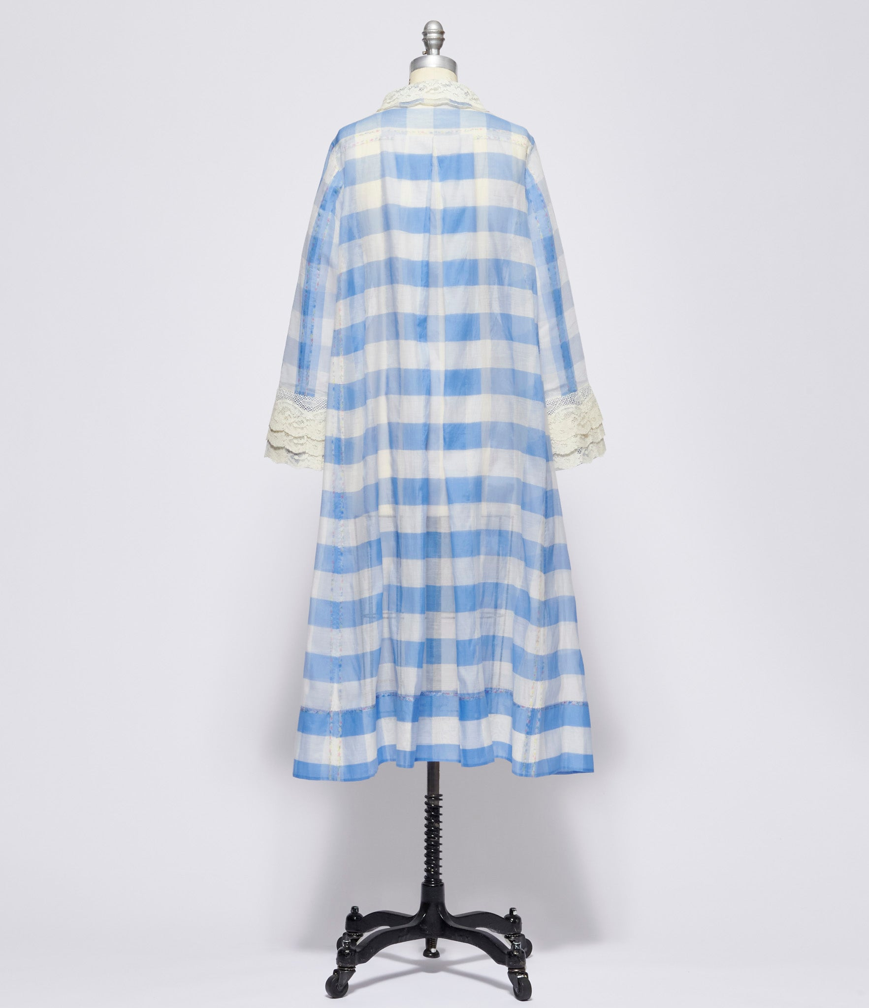 Pero Cotton Silk Blue Gingham Check Coat