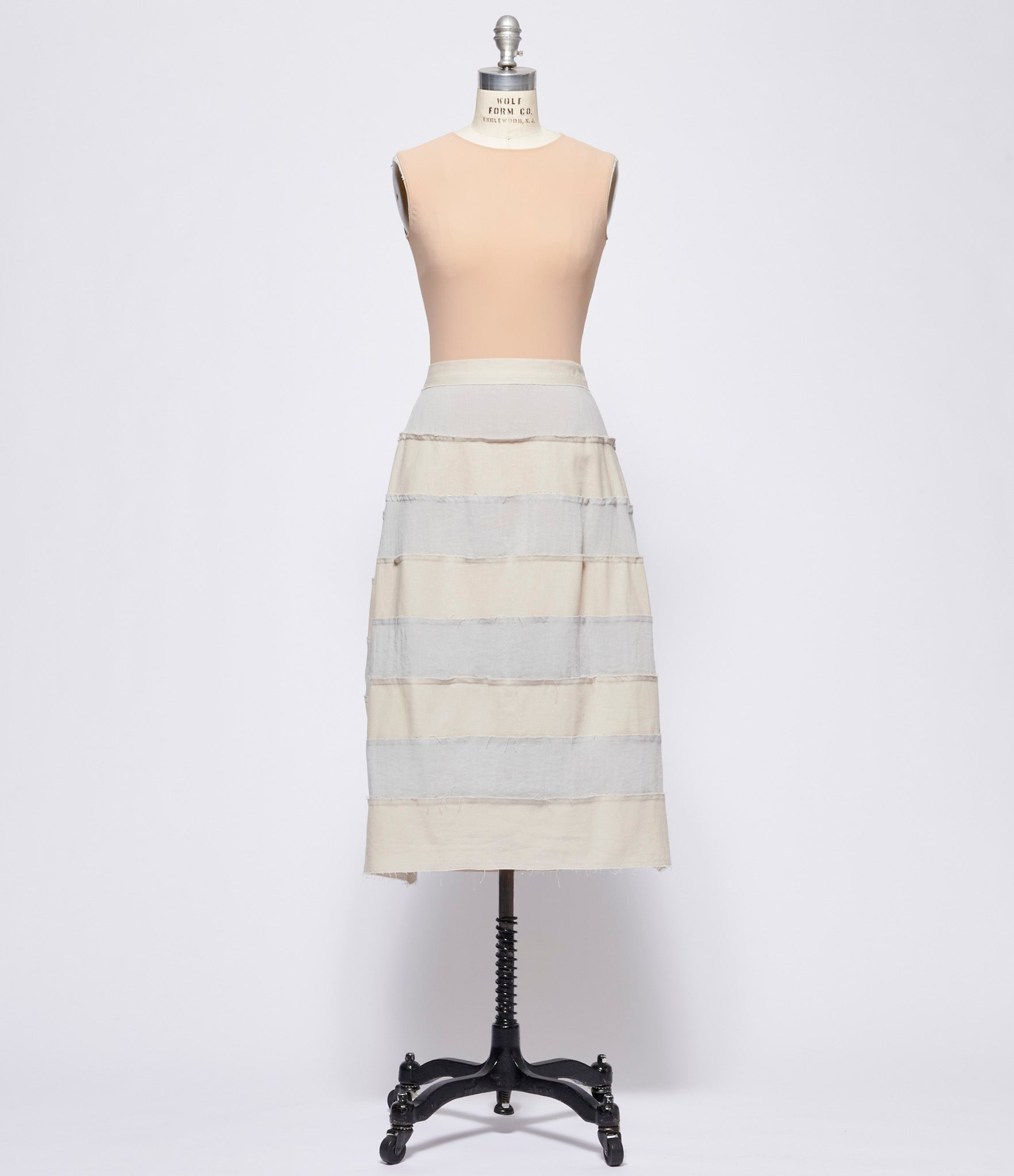 Replika Grey Beige Striped Cotton Linen Skirt