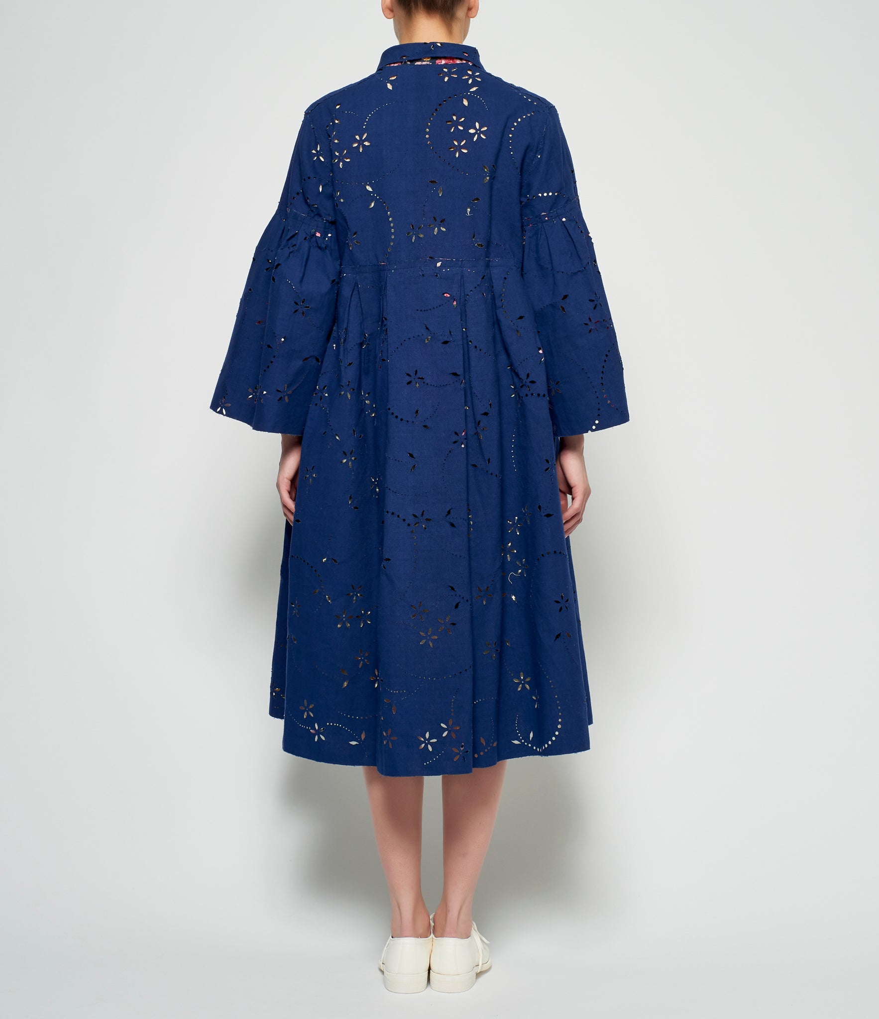 Pero Floral Cut-Out Reversible Cotton Silk Coat
