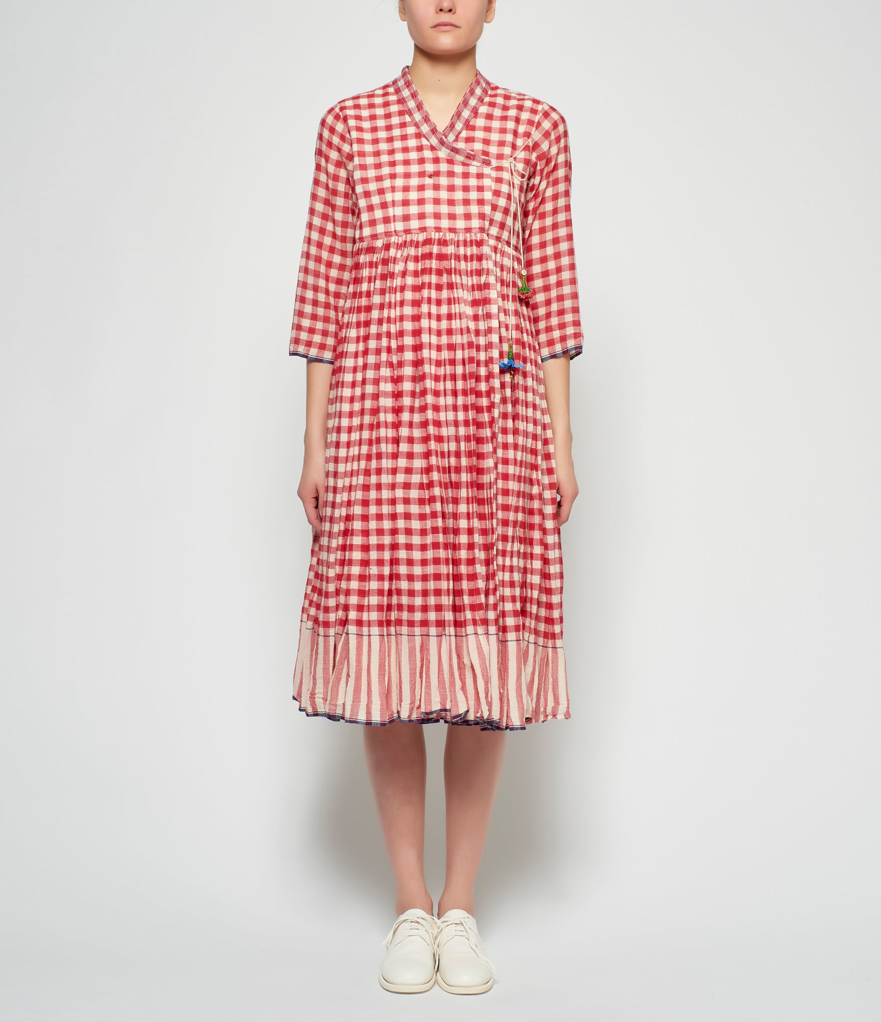 Pero Cotton Red Cotton Gingham Reversible Wrap Coat Dress