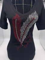 T9671 Elbow Sleeve Red Feathers